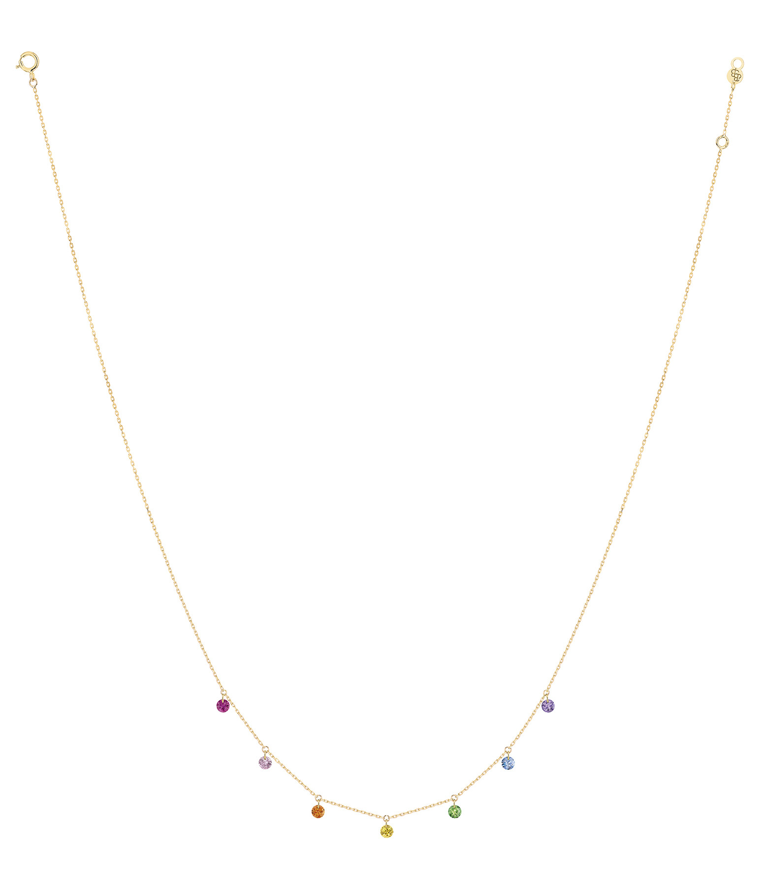 LA BRUNE & LA BLONDE - Collier Confetti 7 Rubis Saphir Tsavorite Améthyste Or Jaune