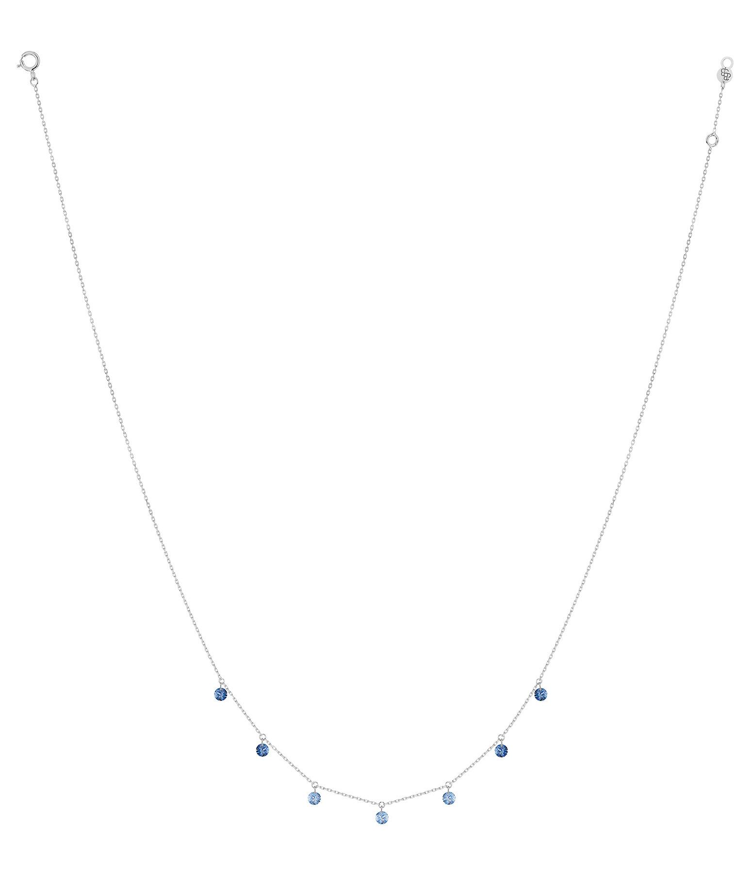 LA BRUNE & LA BLONDE - Collier Confetti 7 Saphirs Bleus Or Blanc