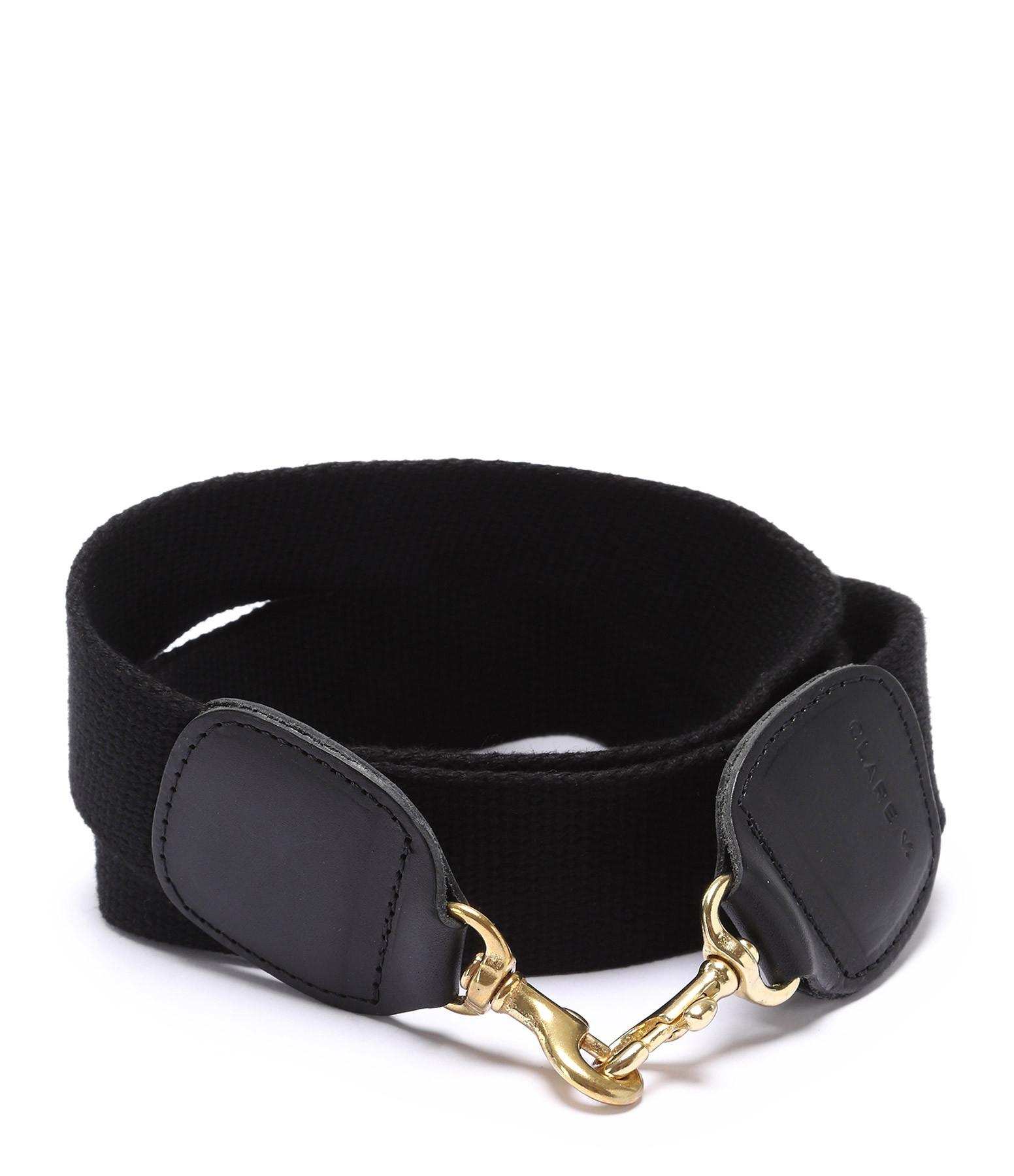 CLARE V. - Bandoulière 1,5 Coton Noir