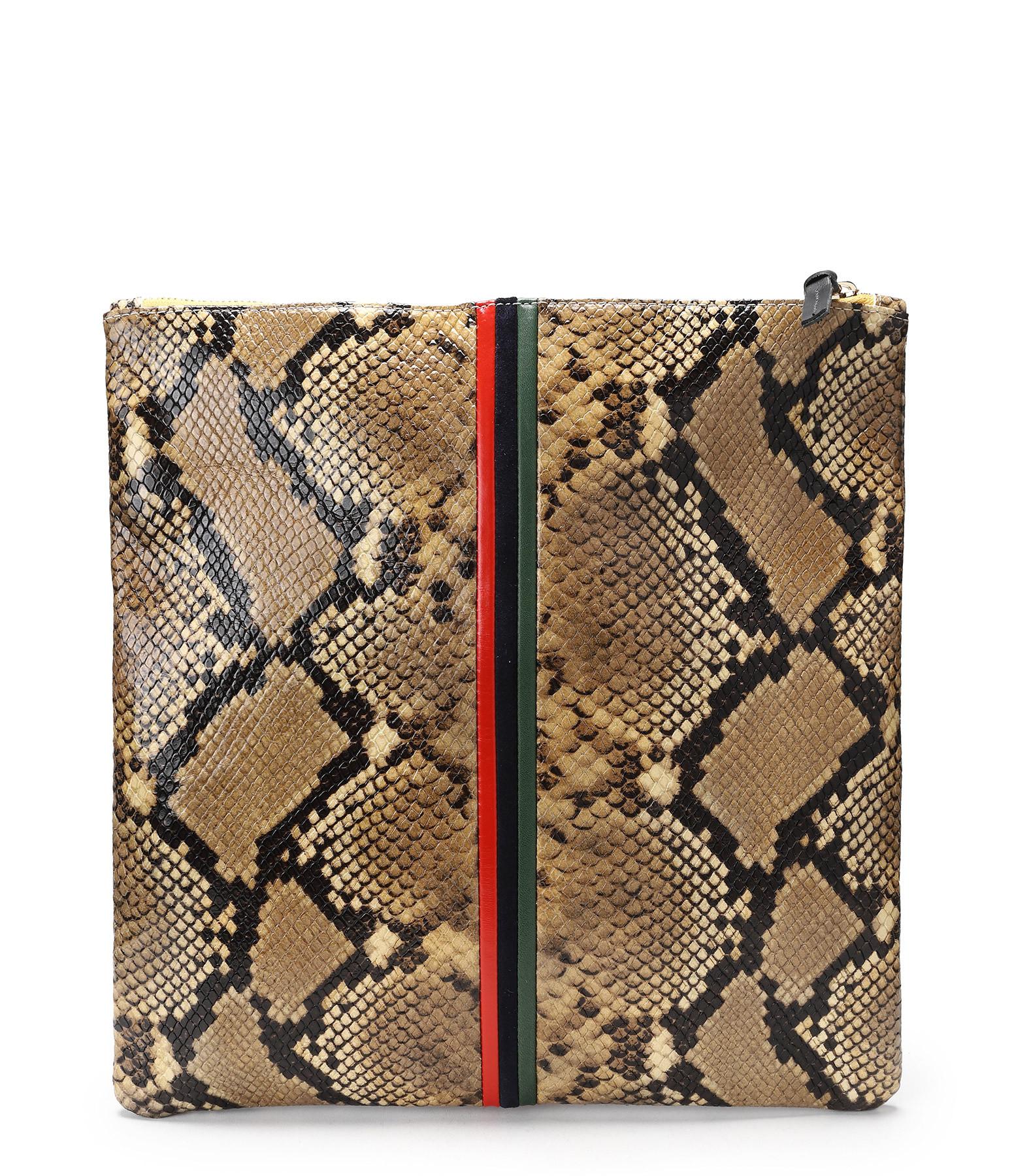 CLARE V. - Pochette Imprimé Serpent Bandes Vert Navy Cerise