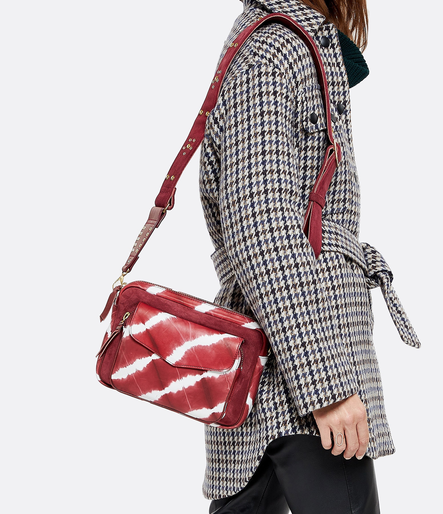 CLARIS VIROT - Sac Big Charly Cuir d'Agneau Tie & Dye Bordeaux