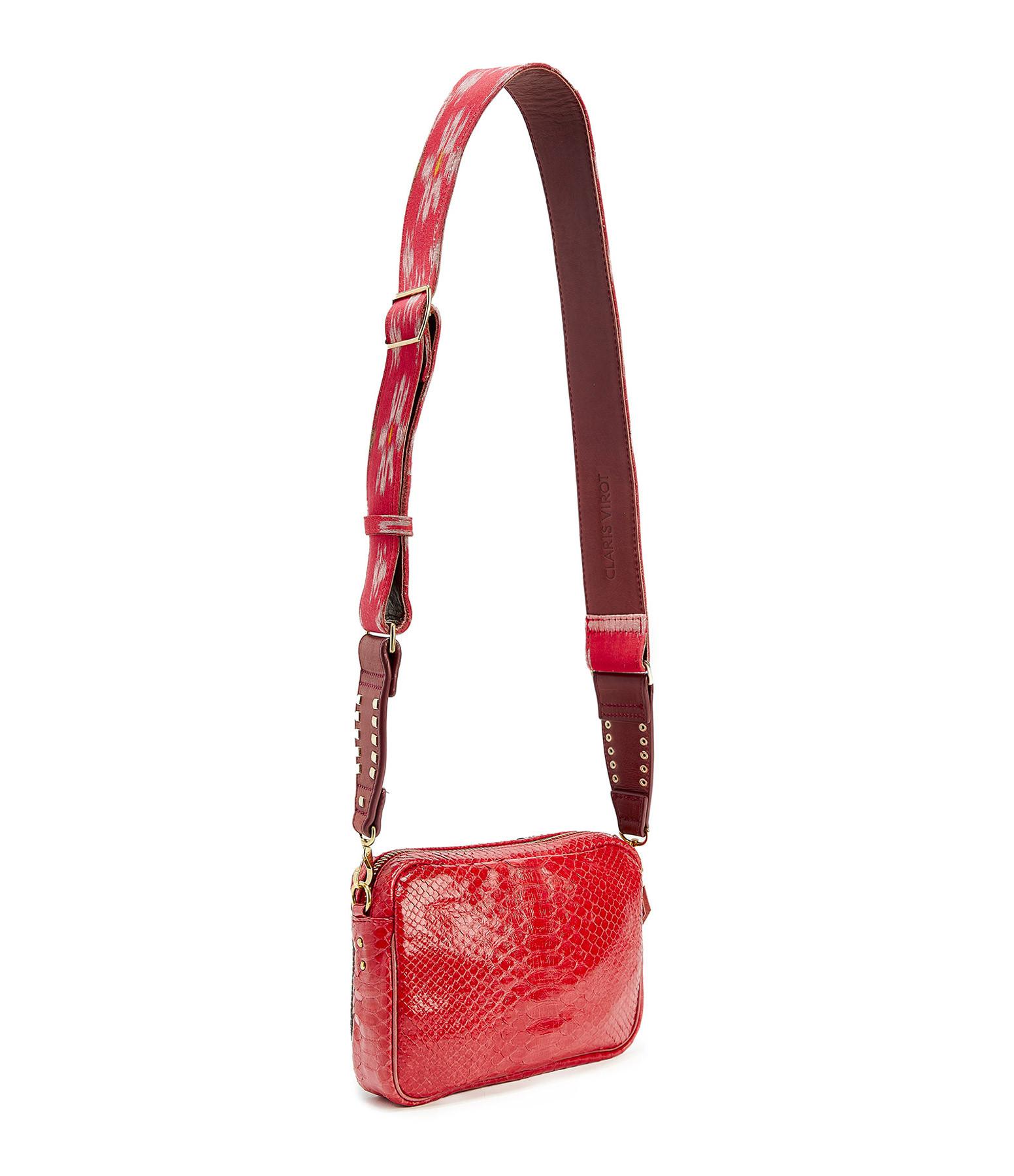 CLARIS VIROT - Sac Charly Python Bandoulière Rouge
