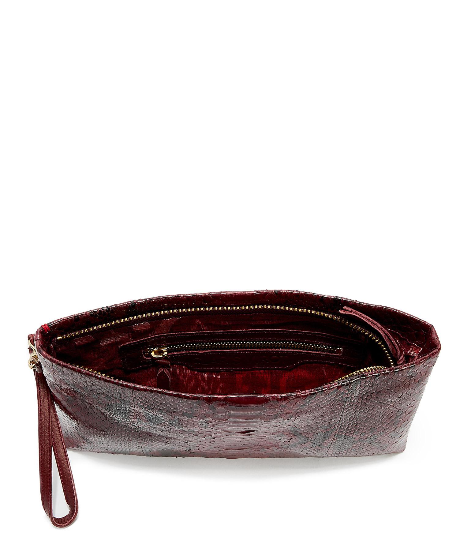 CLARIS VIROT - Pochette Lou Python Bordeaux