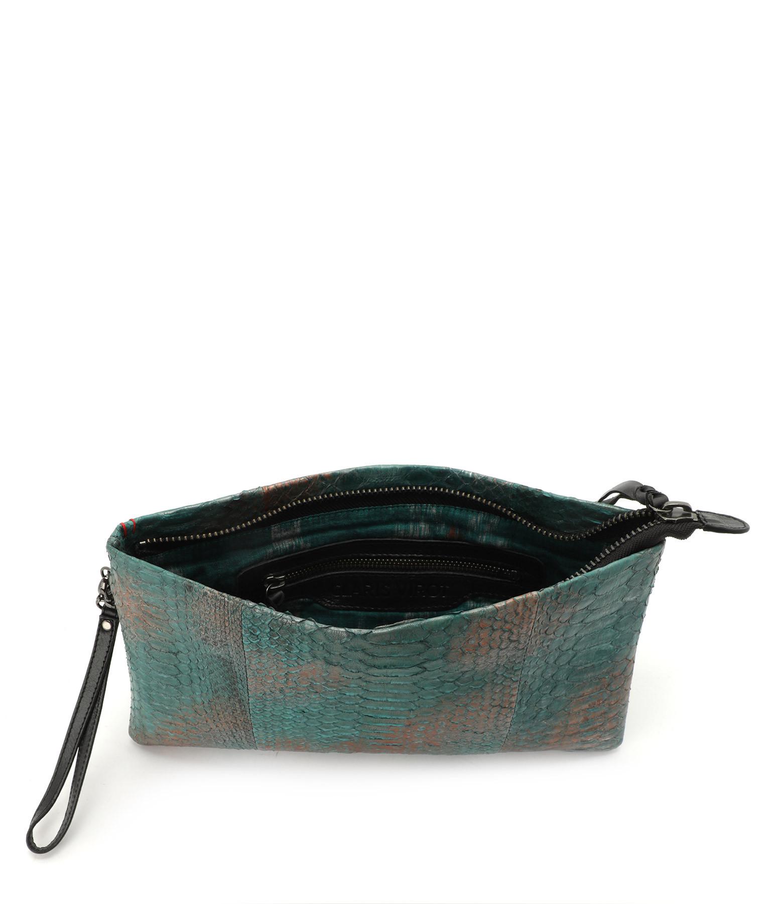 CLARIS VIROT - Pochette Lou Python Aqua