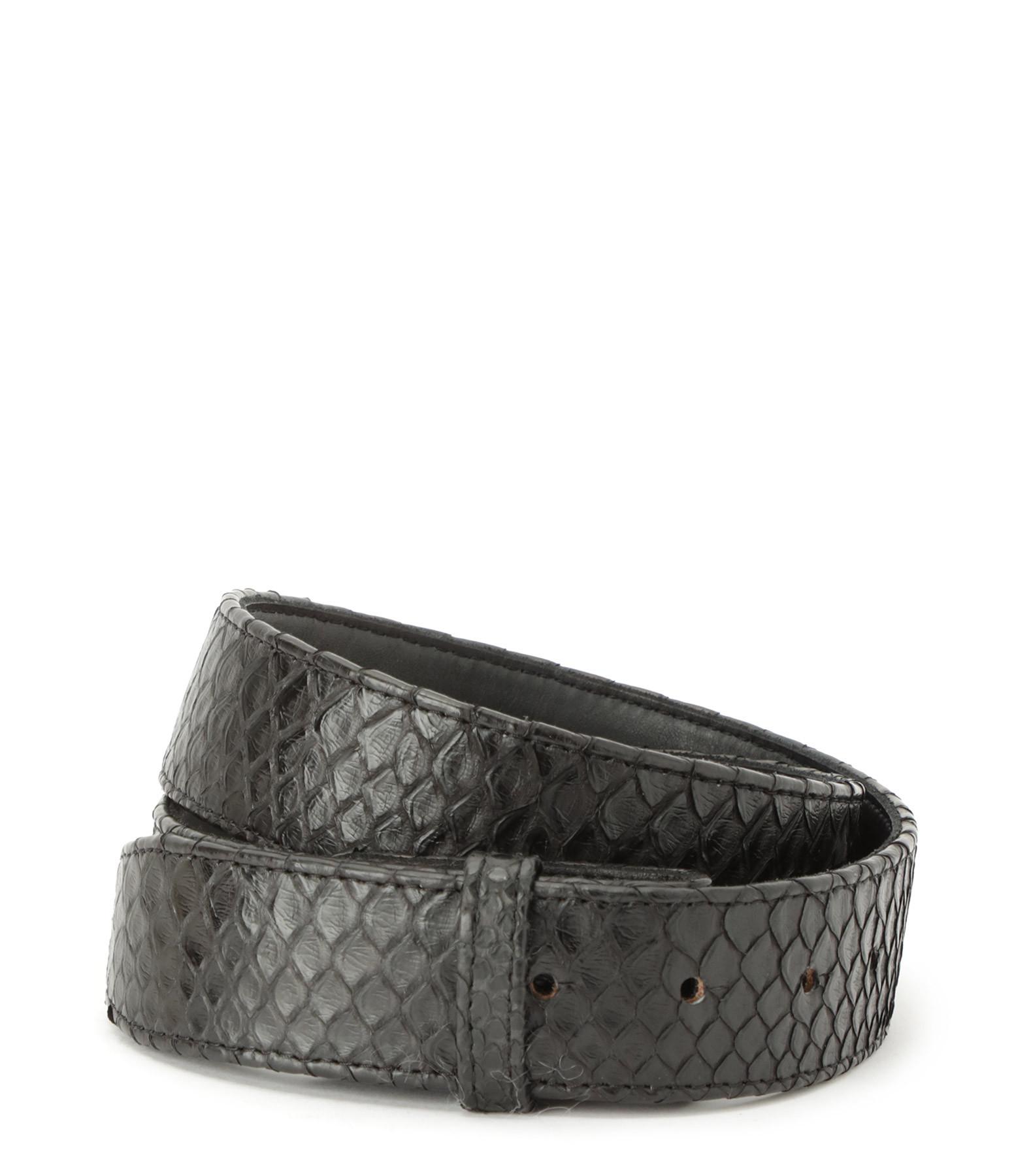 CLARIS VIROT - Sangle de Ceinture Cuir Python Noir