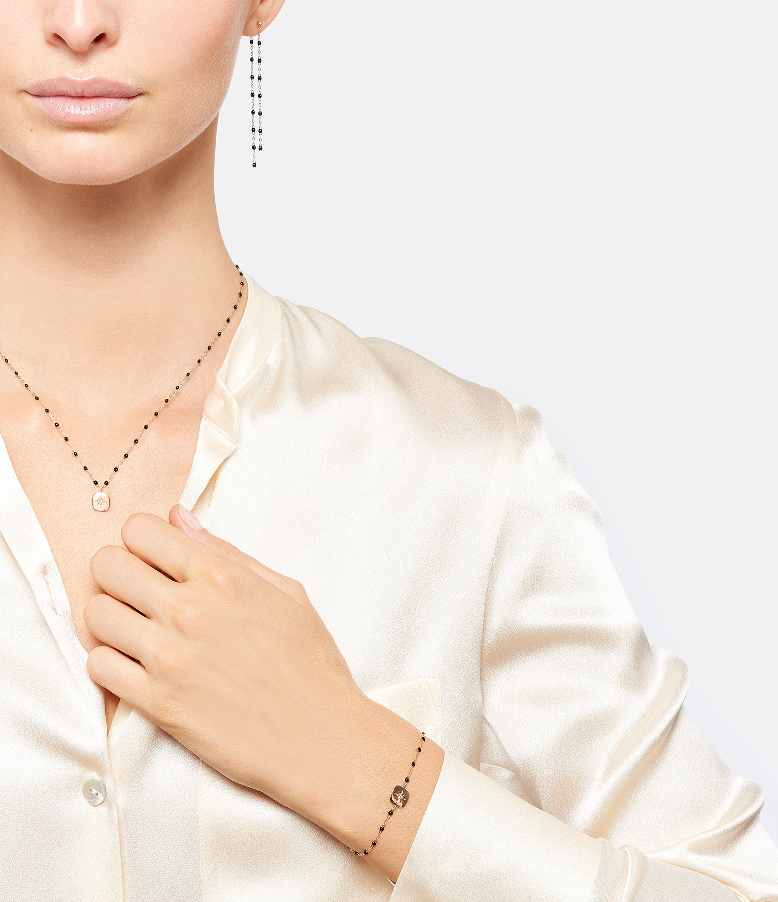 GIGI CLOZEAU - Bracelet Miss Gigi Perles Resine Or gris