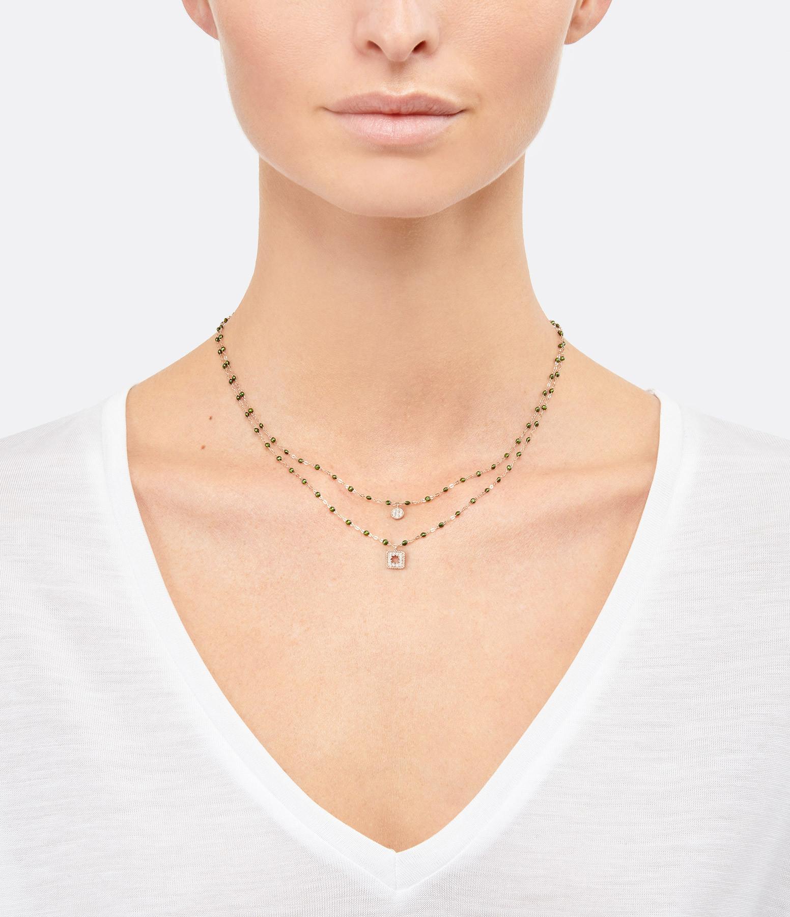GIGI CLOZEAU - Collier Puce Perles Résine Or Diamants