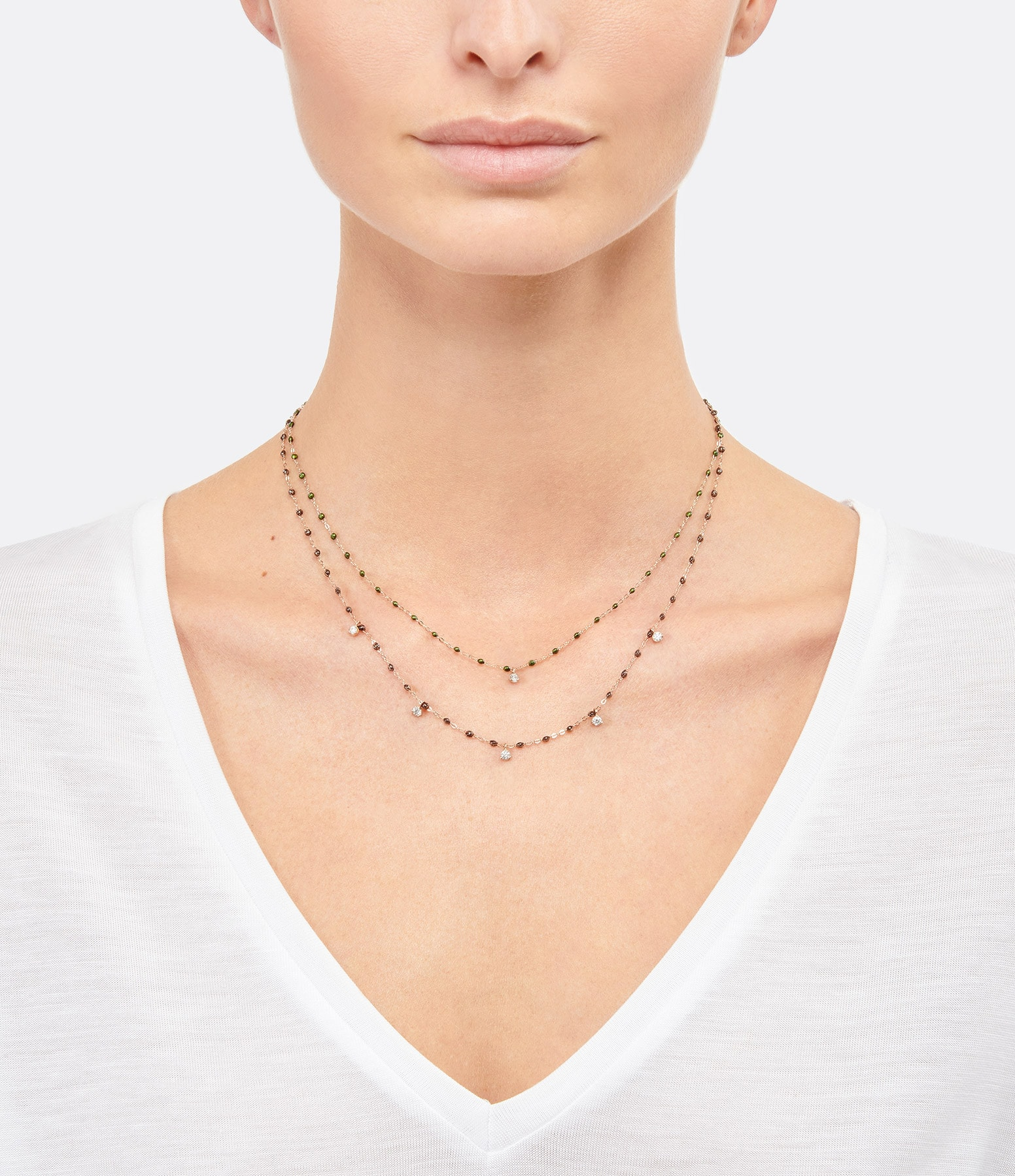GIGI CLOZEAU - Collier résine Gigi Suprême 5 Diamants Or rose