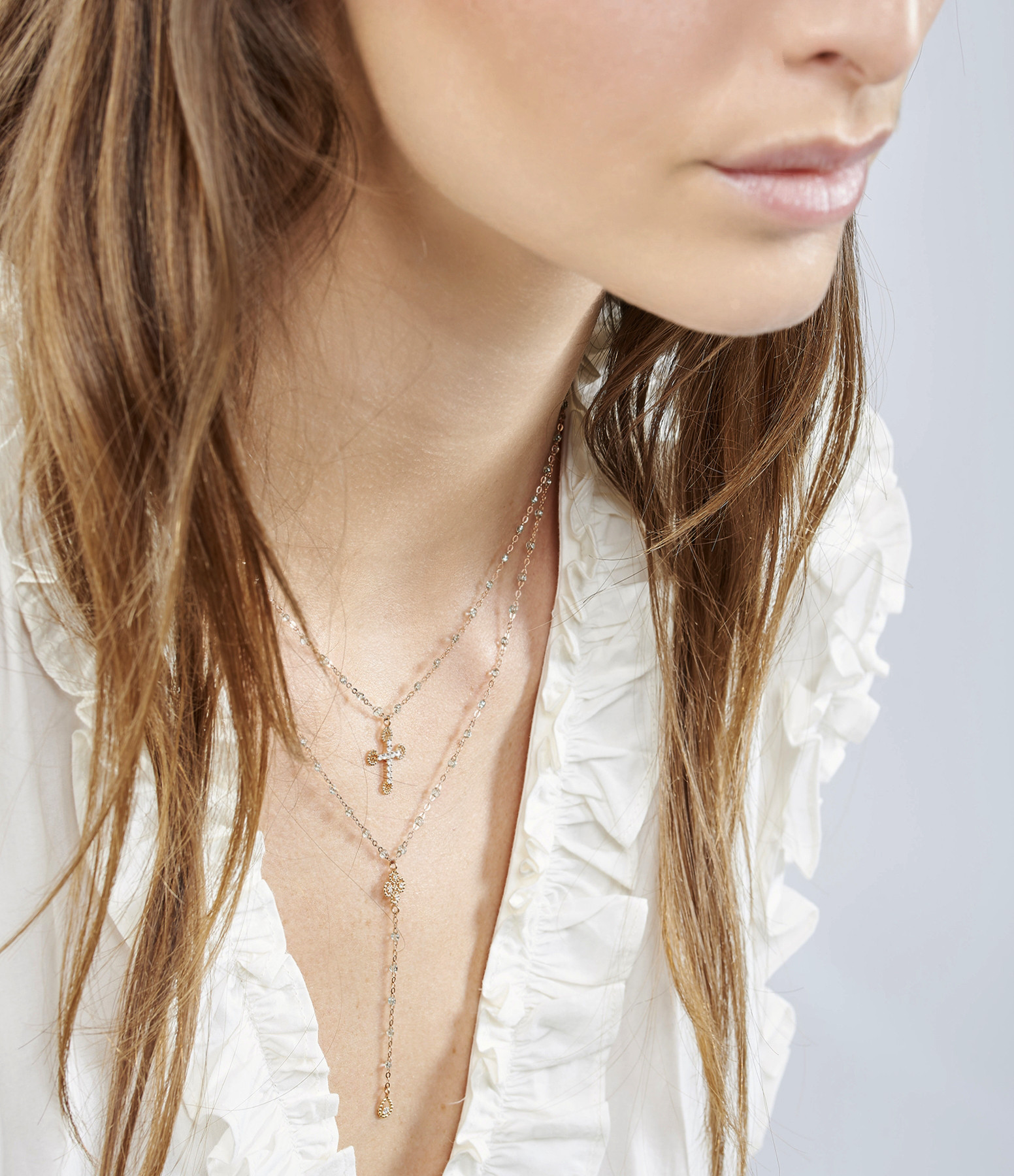 GIGI CLOZEAU - Collier Croix Romane Perles Résine Or Diamants