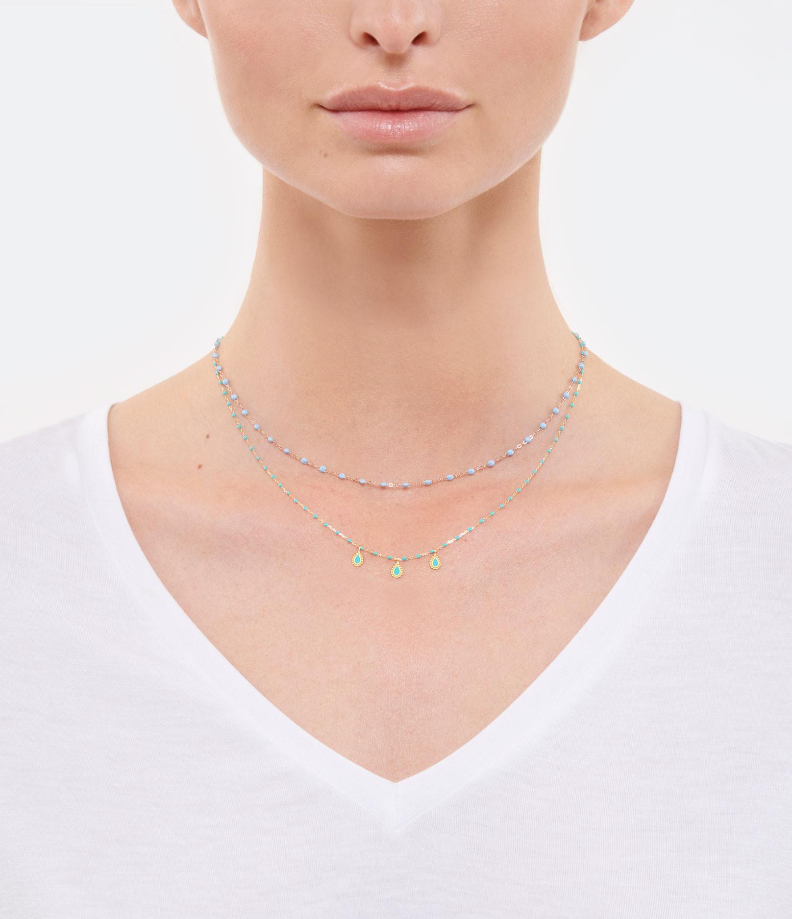 GIGI CLOZEAU - Collier Mini Perles Résine 3 Lucky Cachemire OR