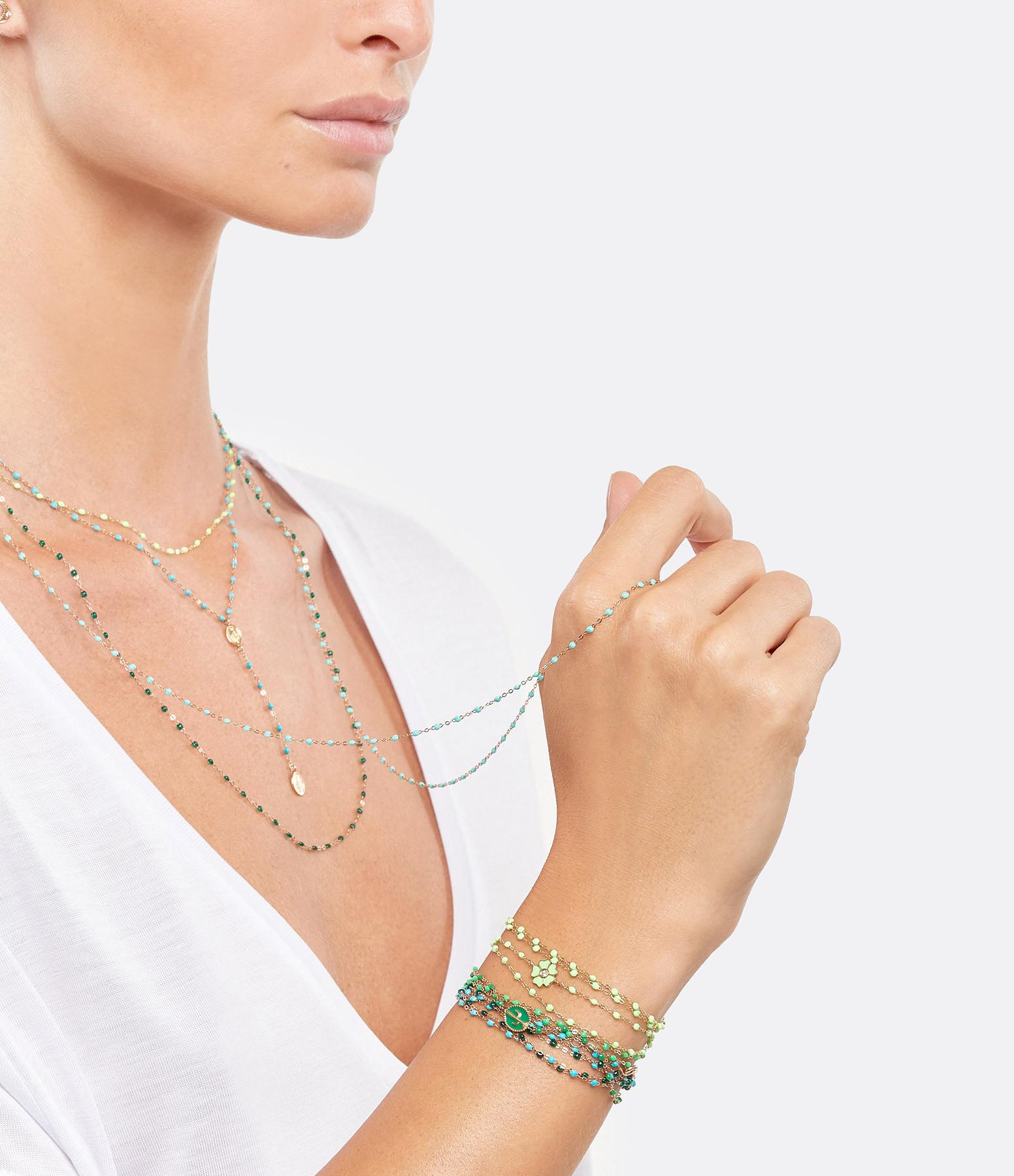 GIGI CLOZEAU - Bracelet Perles Résine Fleur Diamant Or gris