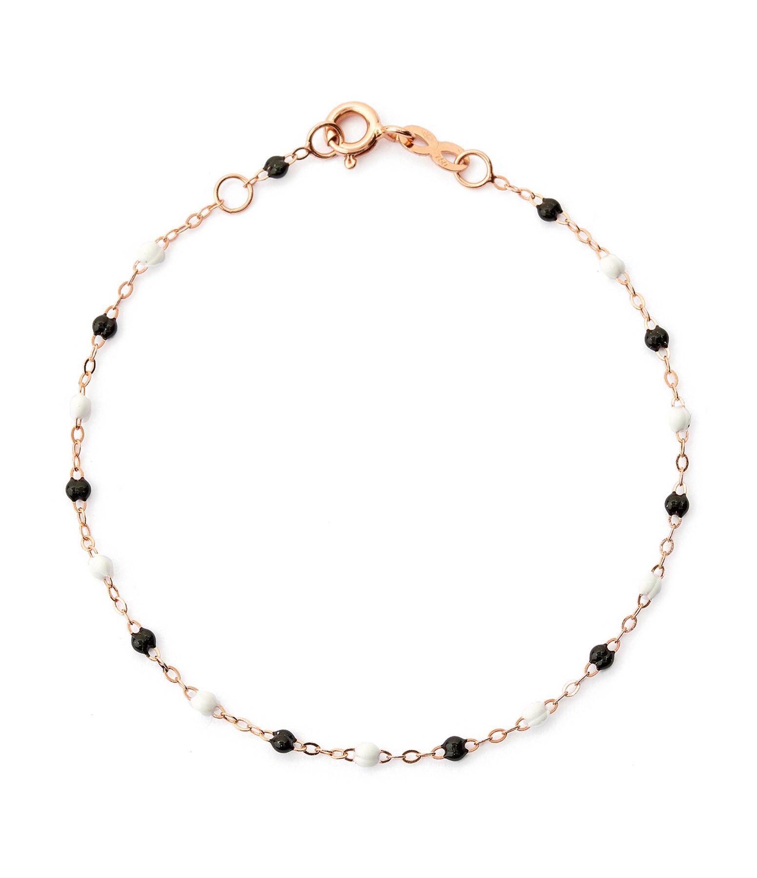 GIGI CLOZEAU - Bracelet Exclusivité Lulli Perles Résine Noir Blanc Or Rose