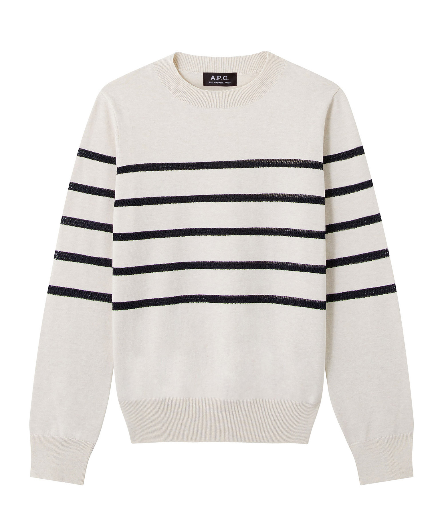 A.P.C. - Pull Cordelia Coton Rayures Craie
