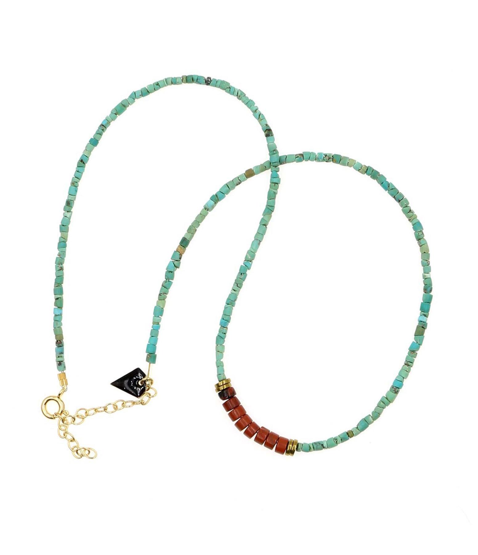 MON PRECIEUX GEM - Collier Puka Turquoise Jaspe