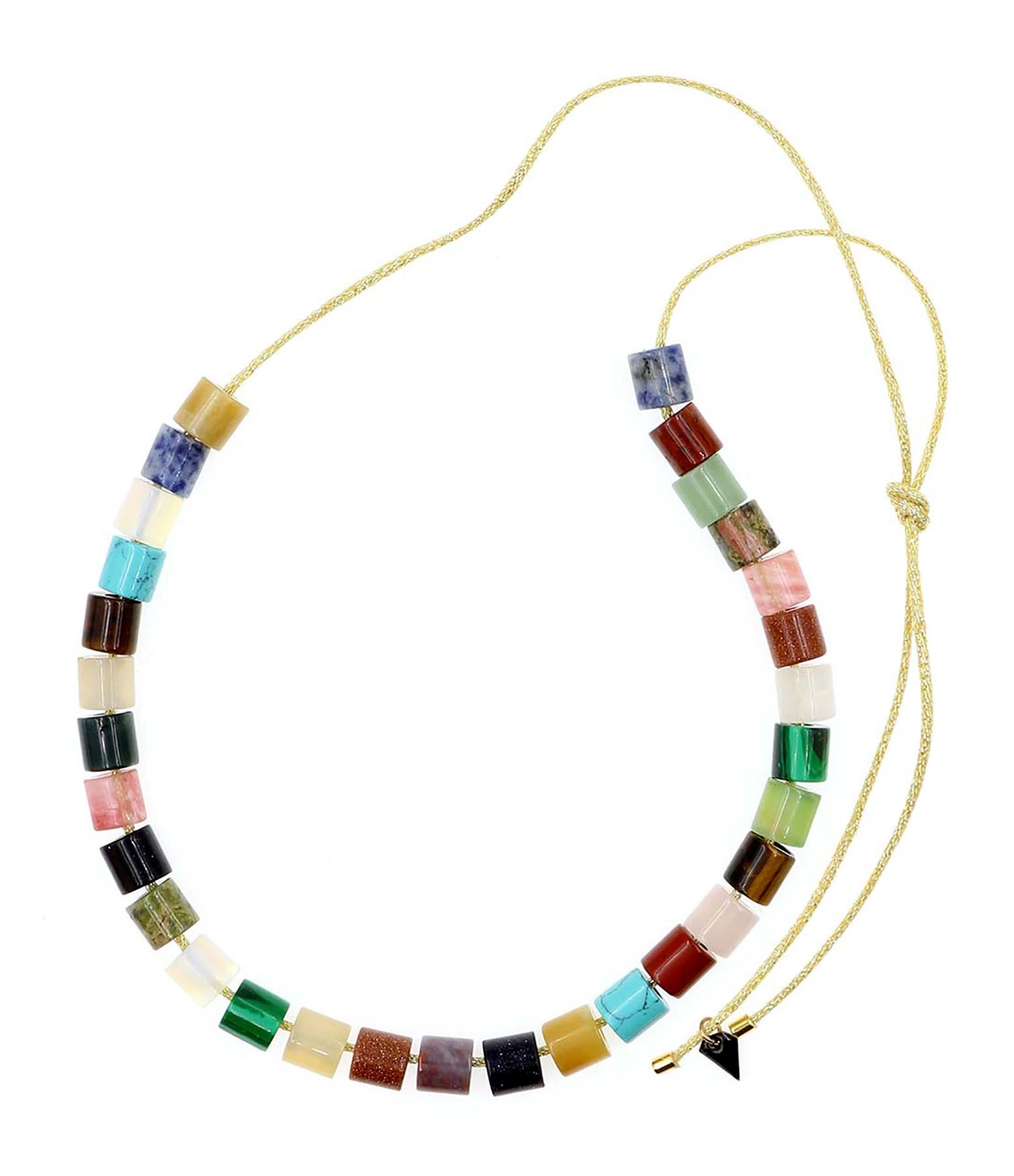 MON PRECIEUX GEM - Sautoir Grosses Perles Tube Pierres Multicolore