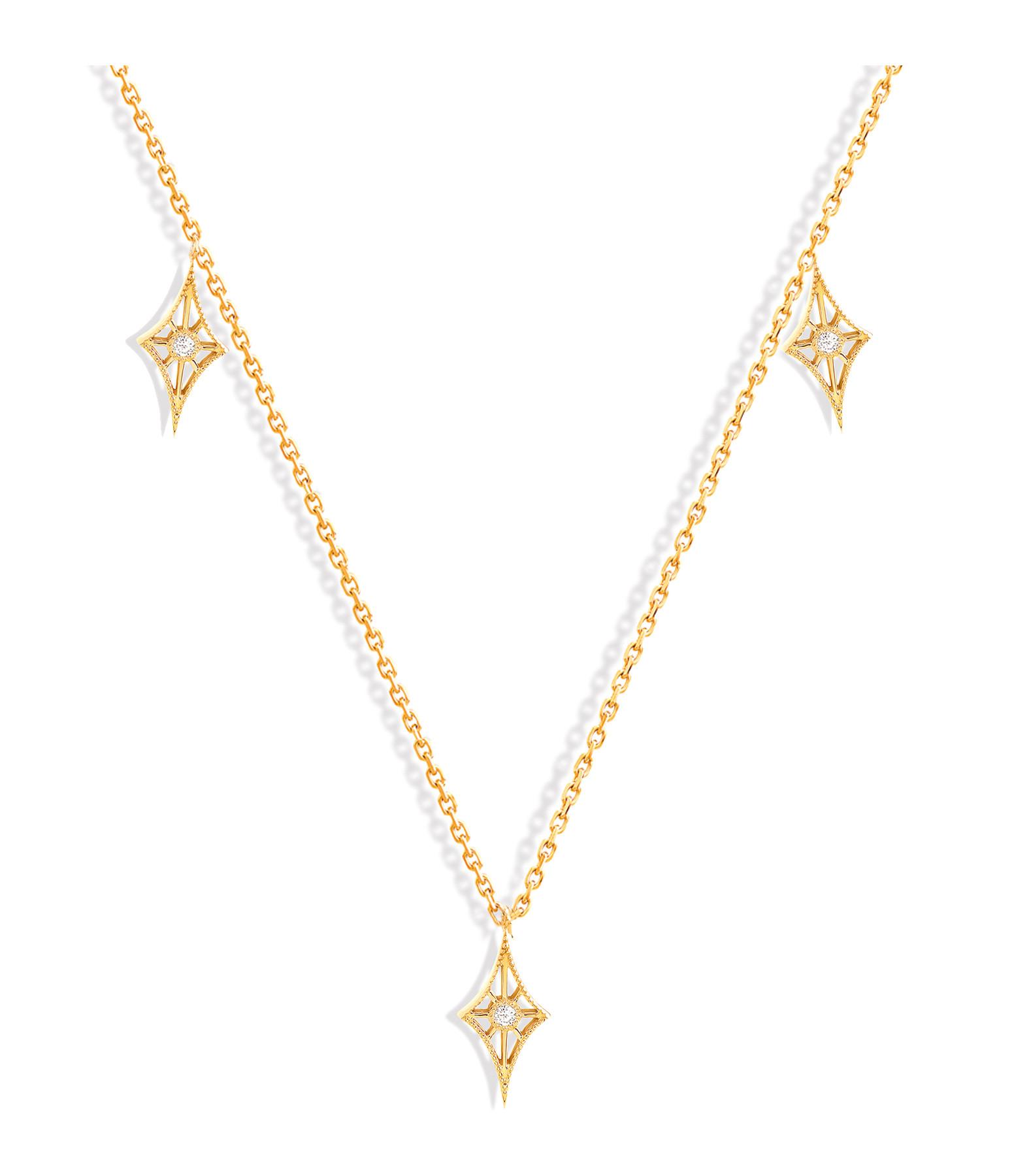 NAVA JOAILLERIE - Collier Cheyenne Mini-Losange Diamants Or Jaune