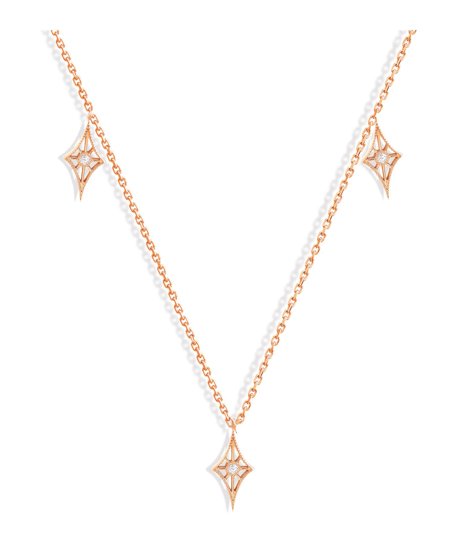 NAVA JOAILLERIE - Collier Cheyenne Mini-Losange Diamants Or Rose