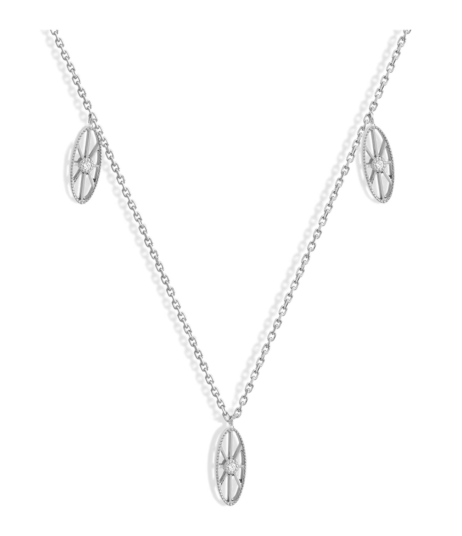 NAVA JOAILLERIE - Collier Cheyenne Mini-Ovale Diamants Or Blanc