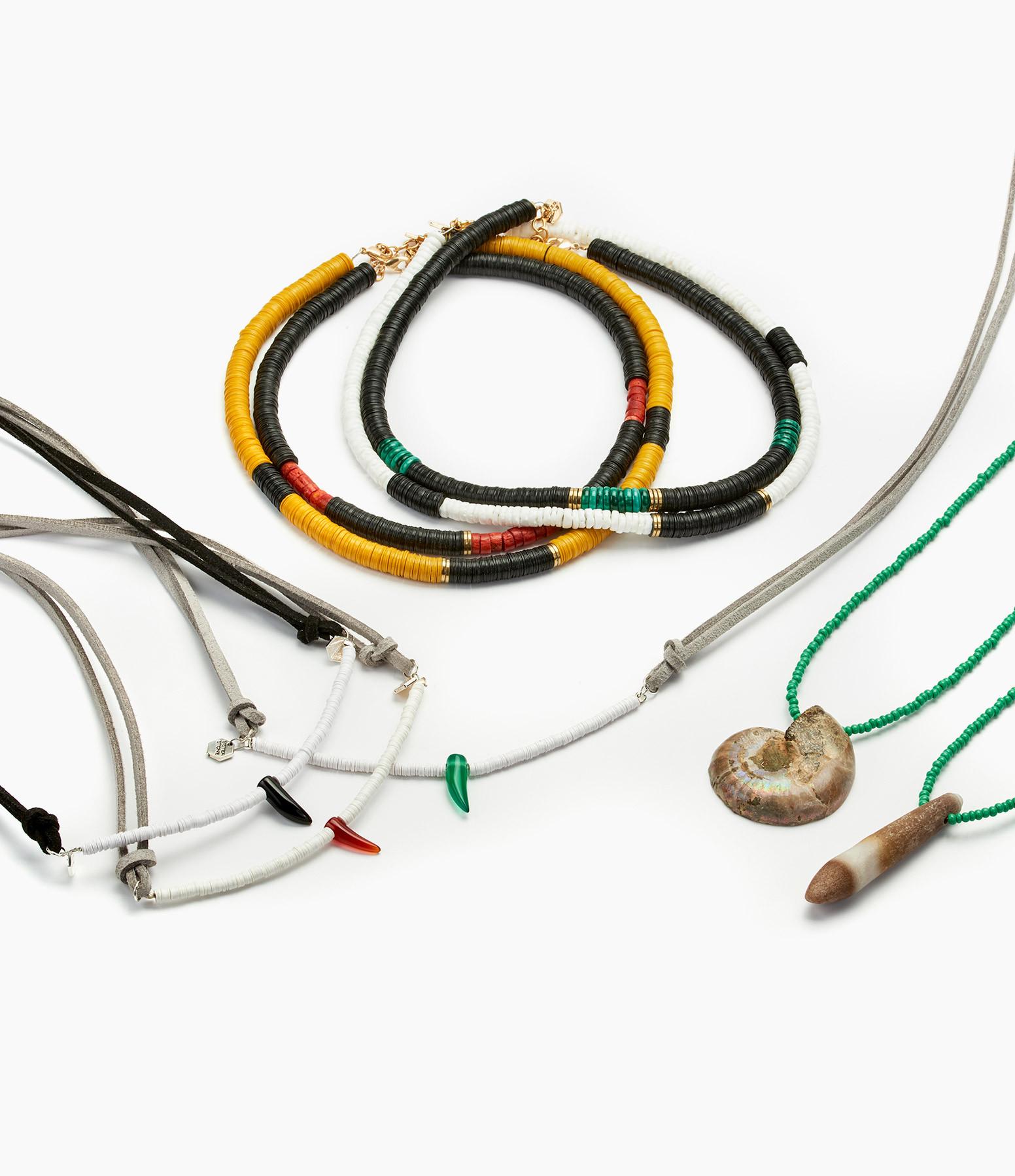 Bracelet Cuir The Pass Gris Rondelle Onyx Vert  - SISTERSTONE