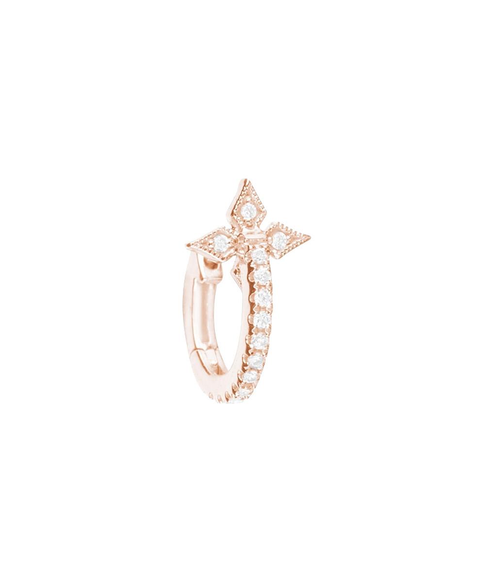 STONE PARIS - Mini Créole Croix Or Diamants (vendue à l'unité)