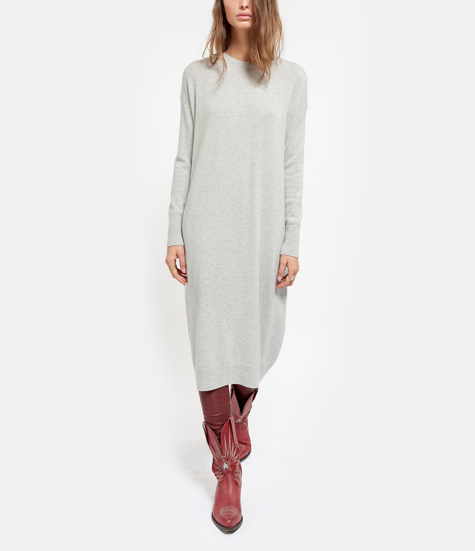 CT PLAGE - Robe Pull Laine Raccoon Gris Clair