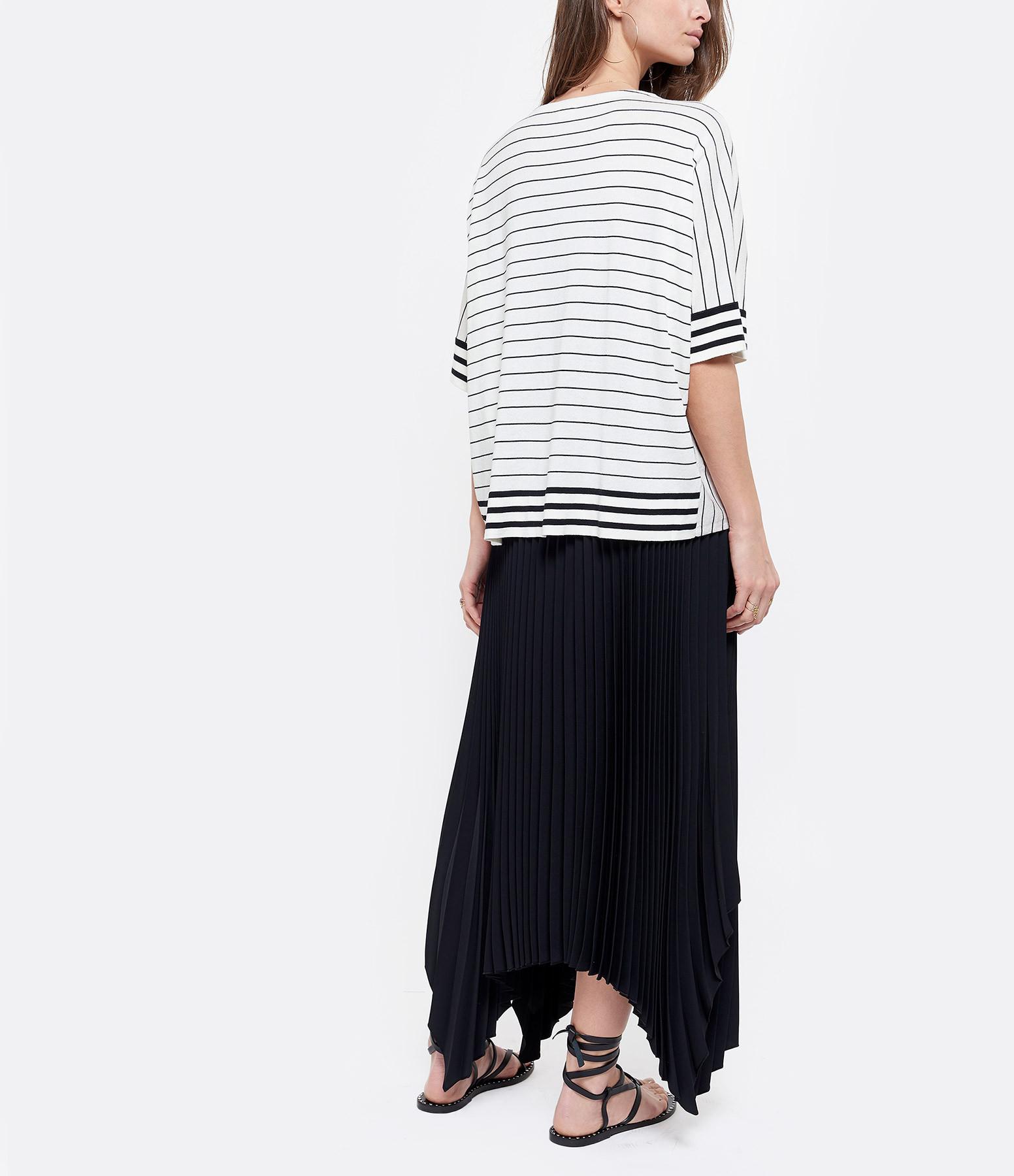 CT PLAGE - Tee-shirt Coton Soie Rayures Noir Blanc