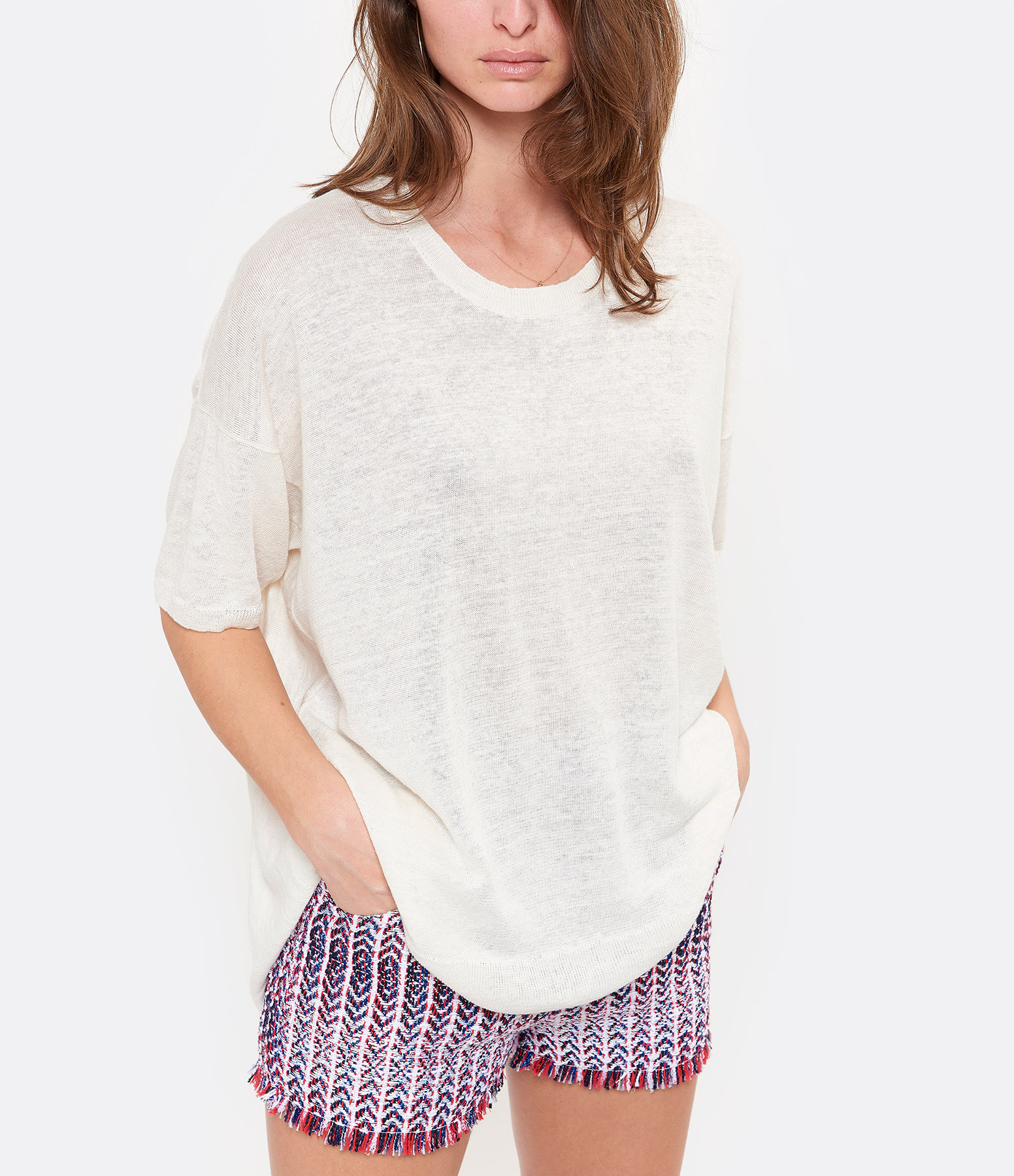CT PLAGE - Pull Col Rond Lin Blanc