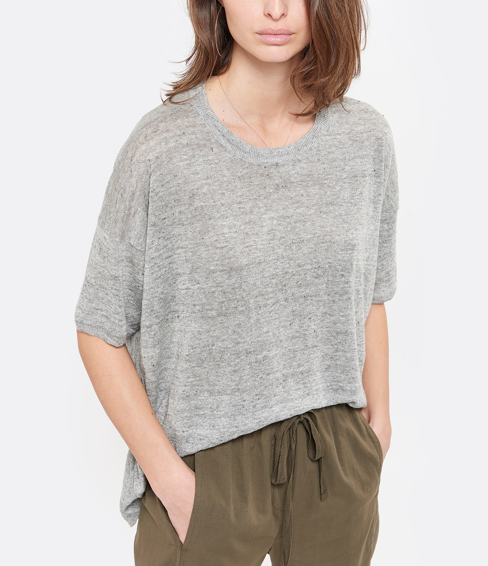 CT PLAGE - Pull Col Rond Lin Gris Clair