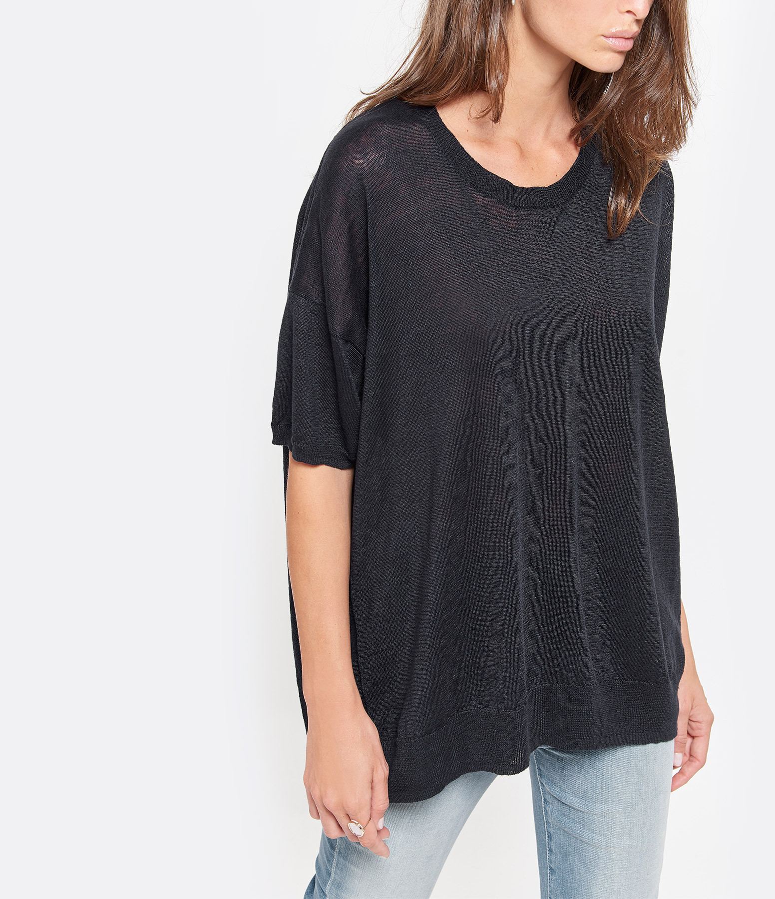 CT PLAGE - Pull Col Rond Lin Noir