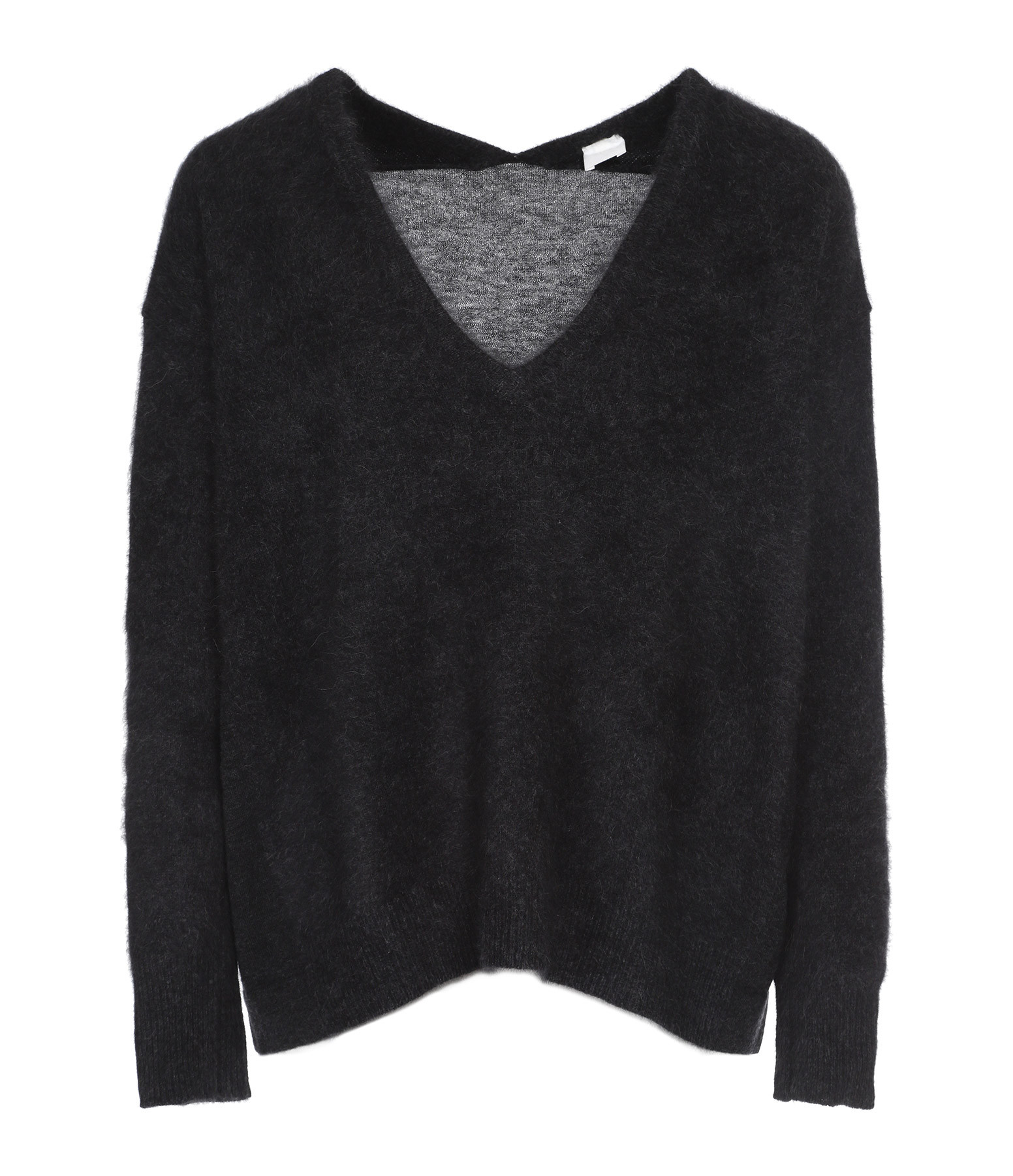 CT PLAGE - Pull Col V Laine Raccoon Gris