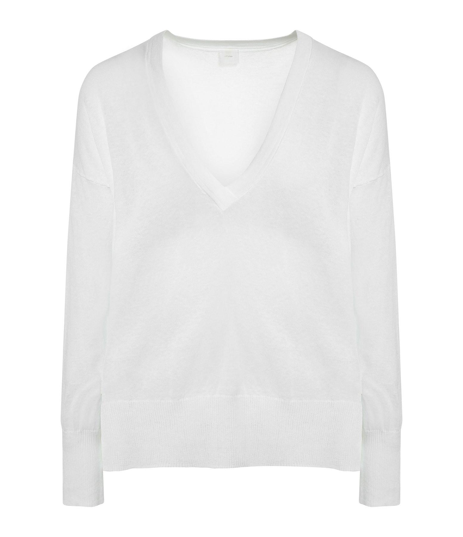 CT PLAGE - Pull Col V Coton Lin Blanc