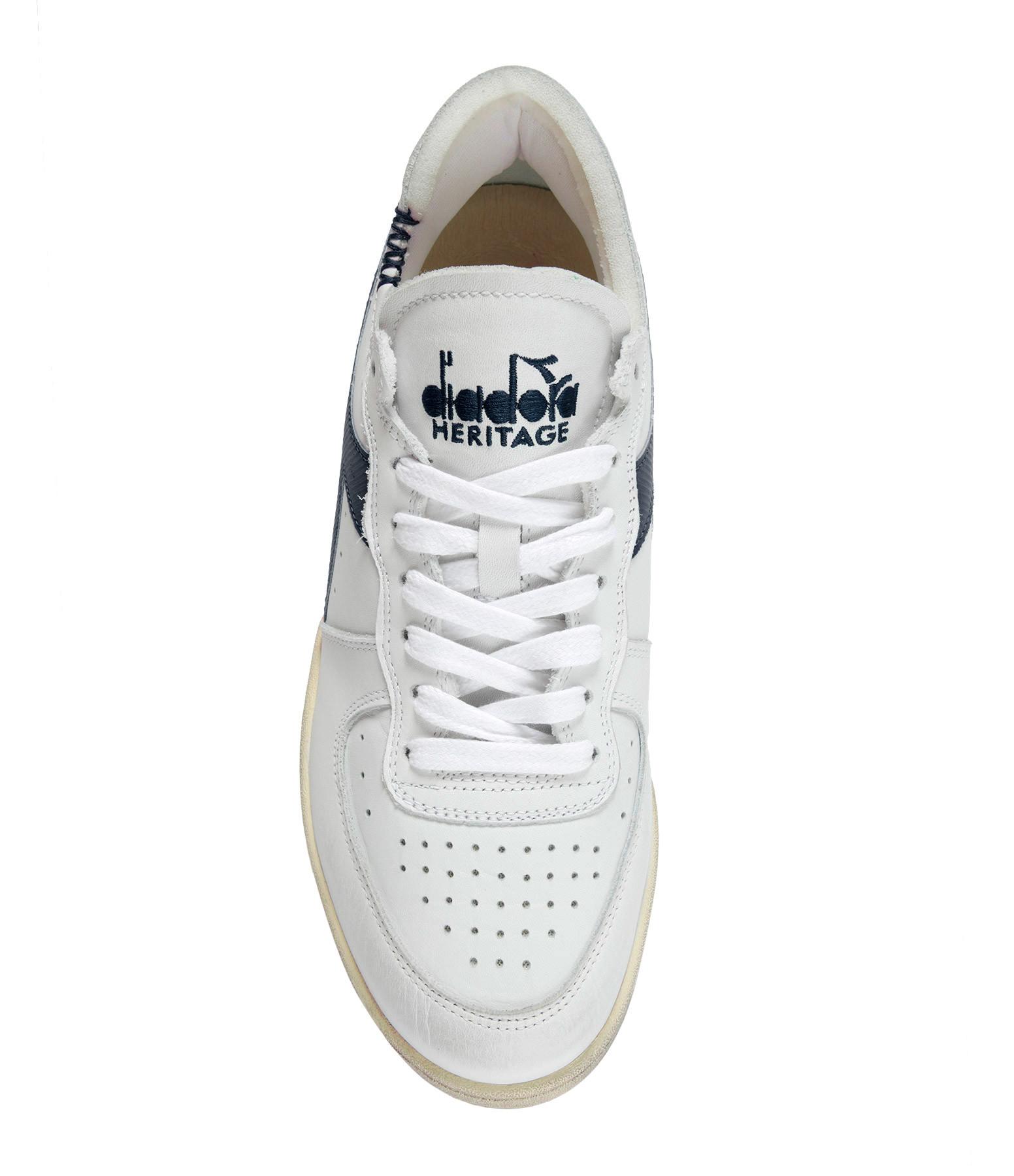 DIADORA - Baskets Unisexe Mi Basket Row Cut Cuir Blanc