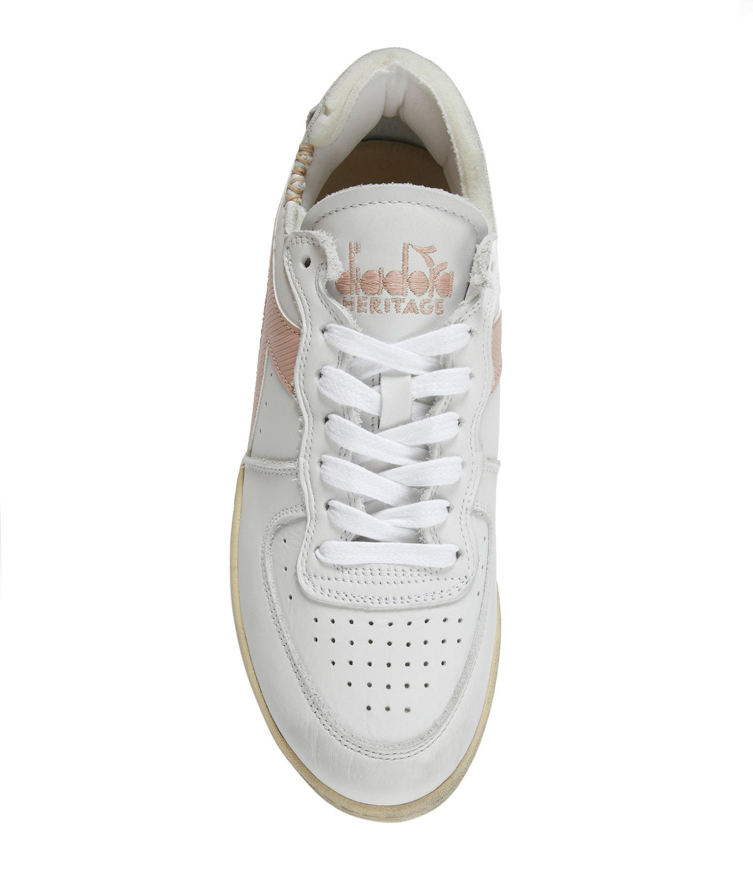 DIADORA - Baskets Mi Basket Row Cut Cuir Blanc