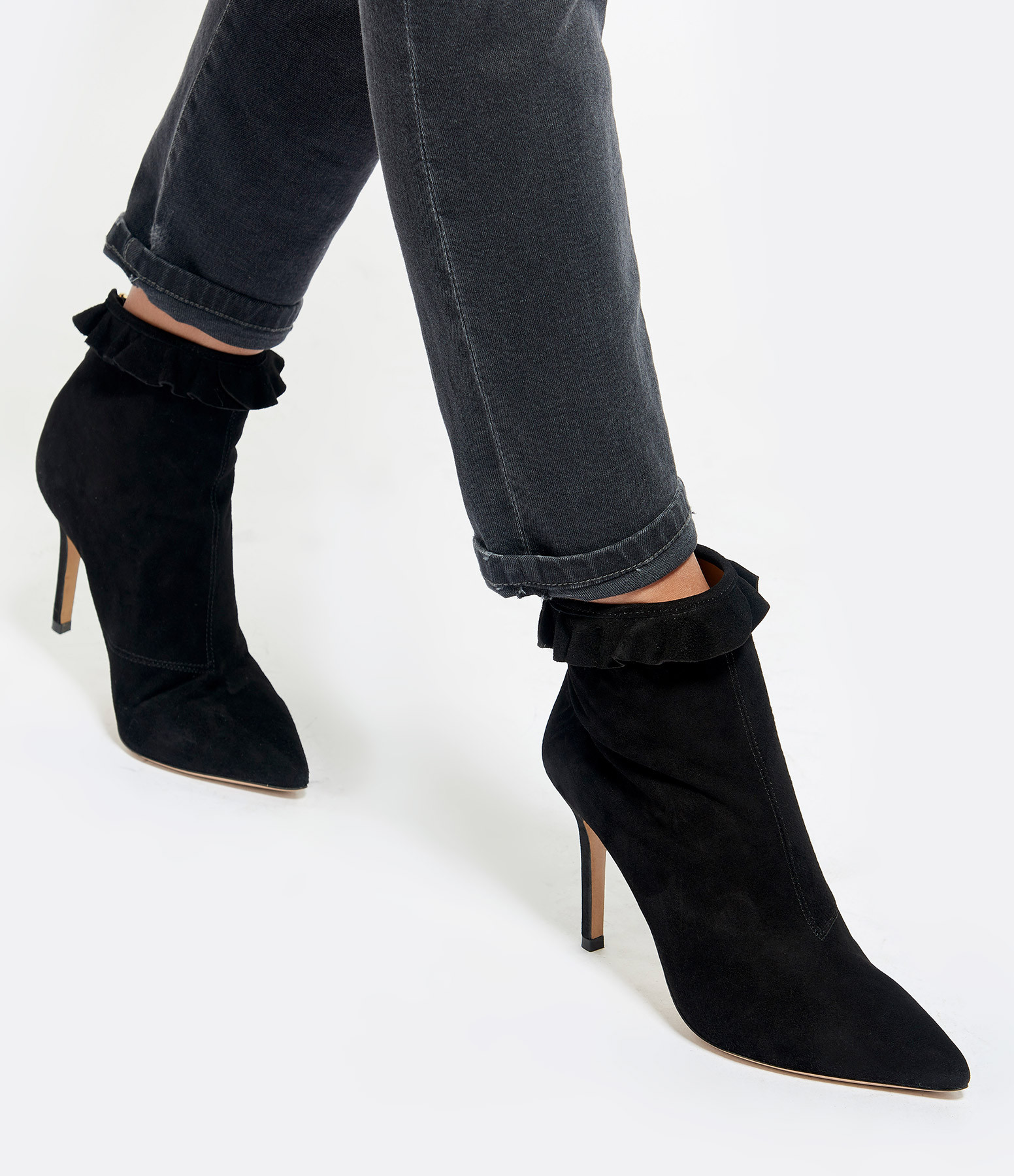 JEROME DREYFUSS - Bottines Suzy 85 Collerette Chèvre Noir