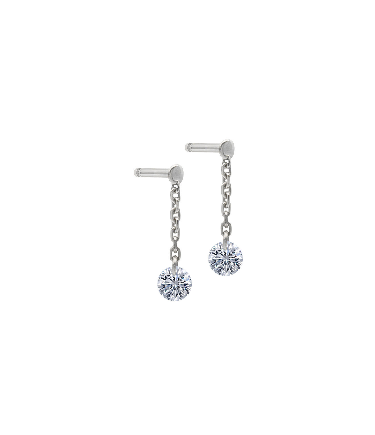 LA BRUNE & LA BLONDE - Boucles d'oreilles 360° Diamant Brillant Or Blanc