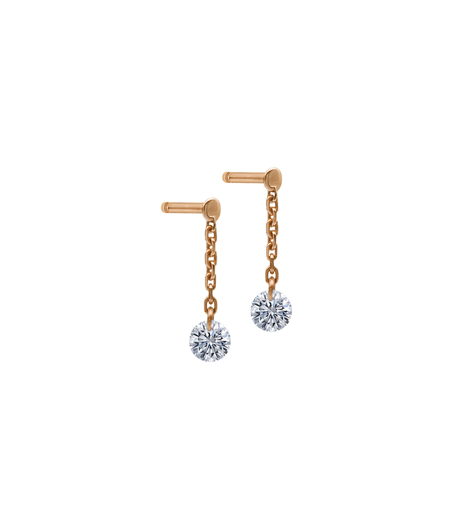 LA BRUNE & LA BLONDE - Boucles d'oreilles 360° Diamant Brillant Or Rose