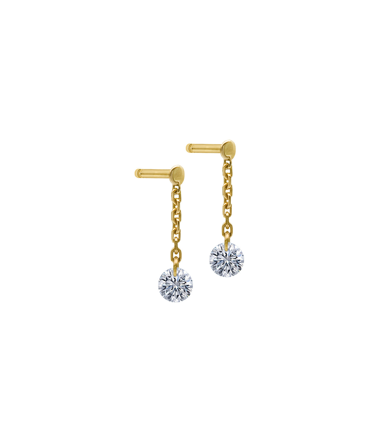 LA BRUNE & LA BLONDE - Boucles d'oreilles 360° Diamant Brillant Or Jaune