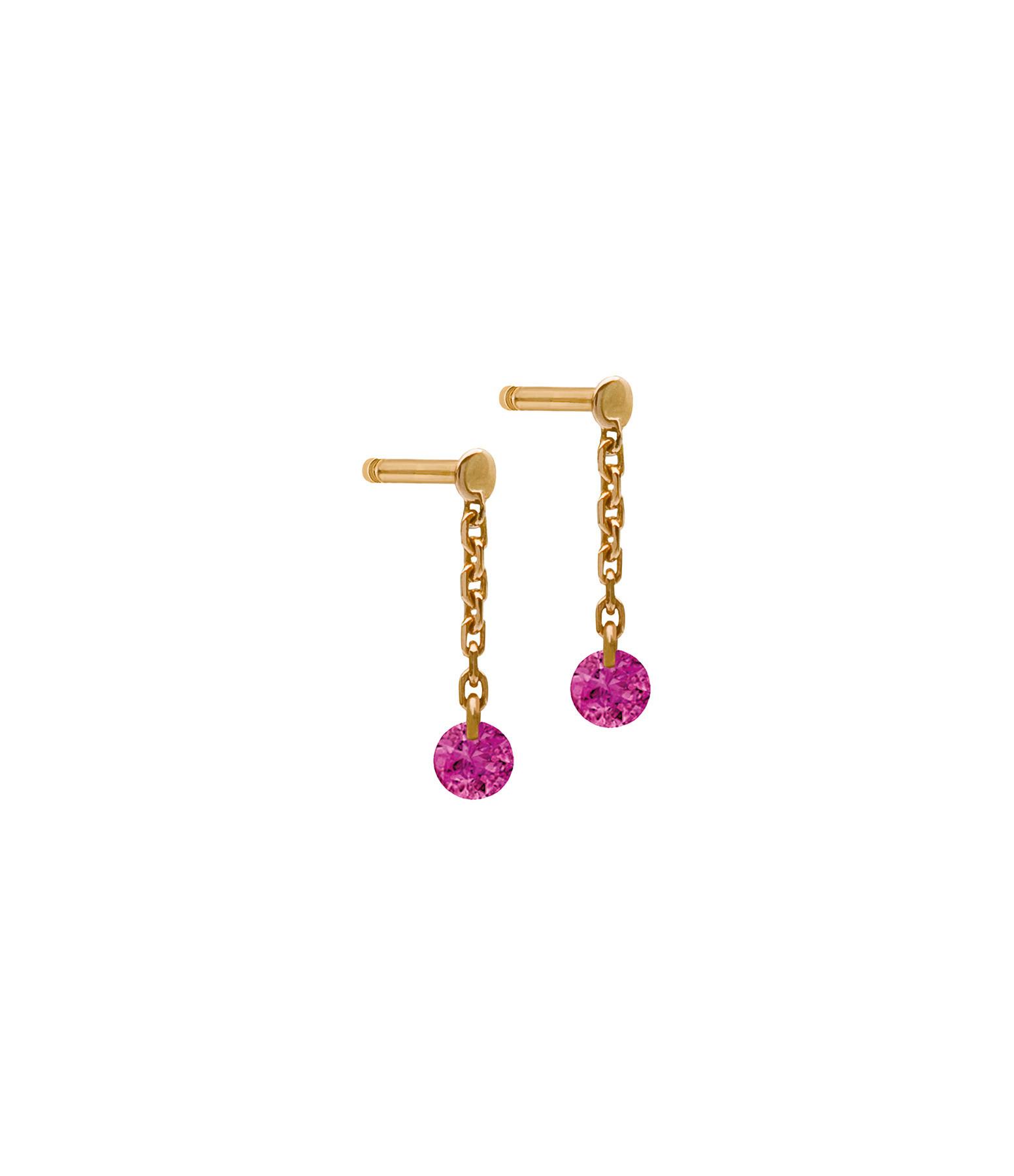 LA BRUNE & LA BLONDE - Boucles d'oreilles Confetti Rubis Or Rose