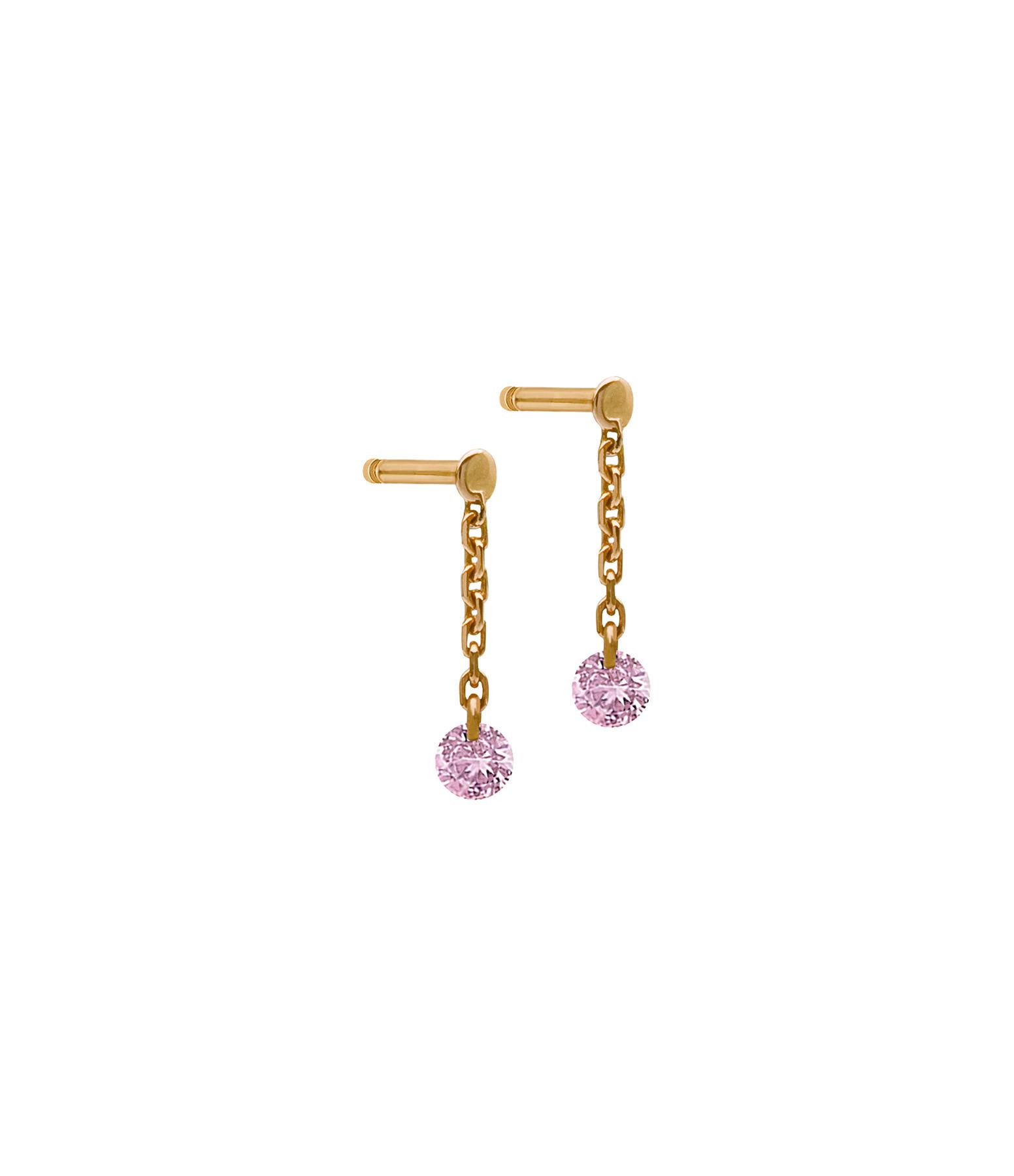 LA BRUNE & LA BLONDE - Boucles d'oreilles Confetti Saphir Rose Or Rose