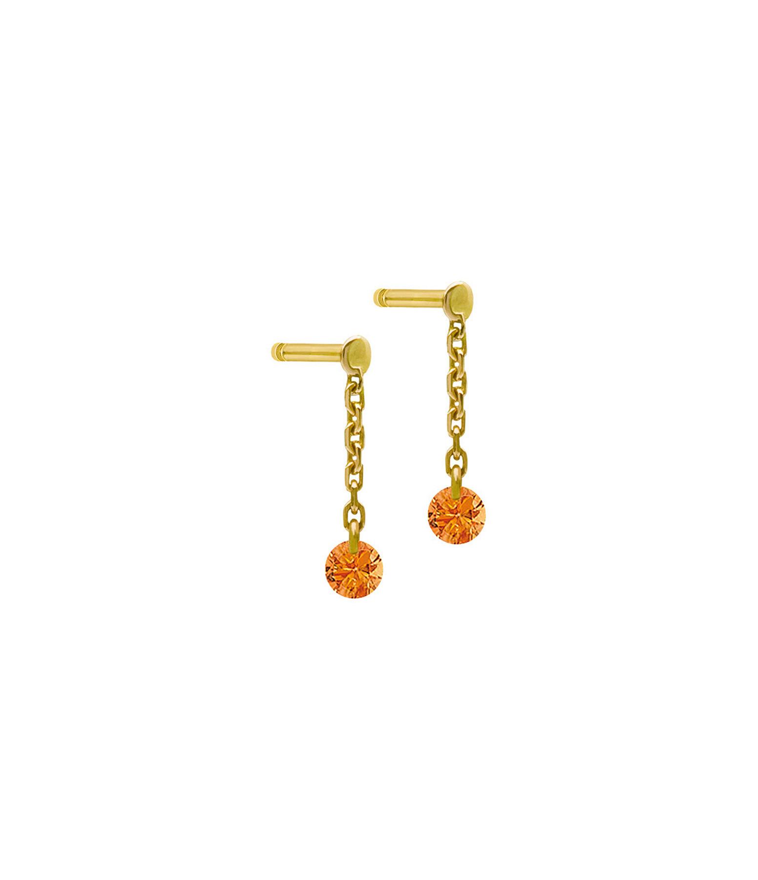 LA BRUNE & LA BLONDE - Boucles d'oreilles Confetti Saphir Orange Or Jaune