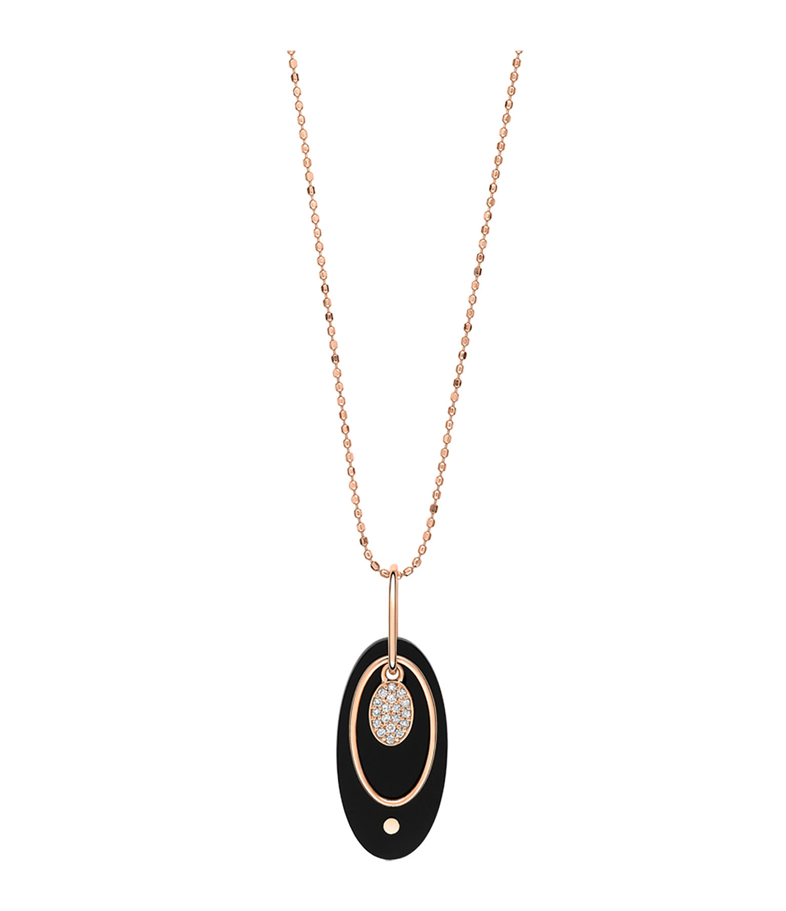 GINETTE_NY - Collier Ellipses Charm Or Rose Diamants Onyx