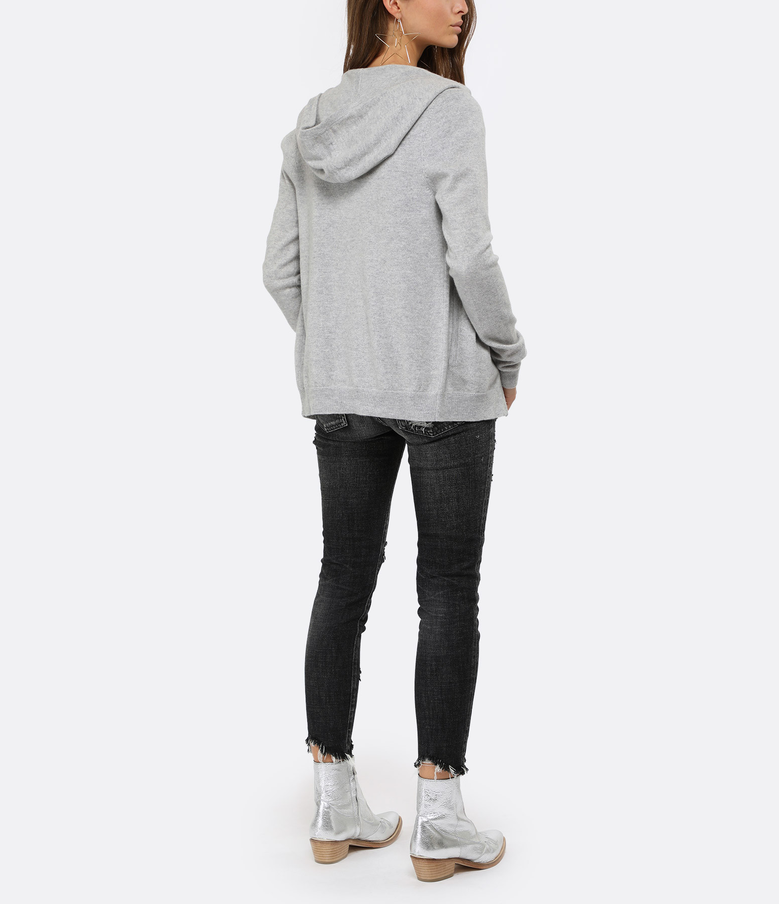 ERIC BOMPARD - Sweatshirt Hoodie Cintré Gris Frost