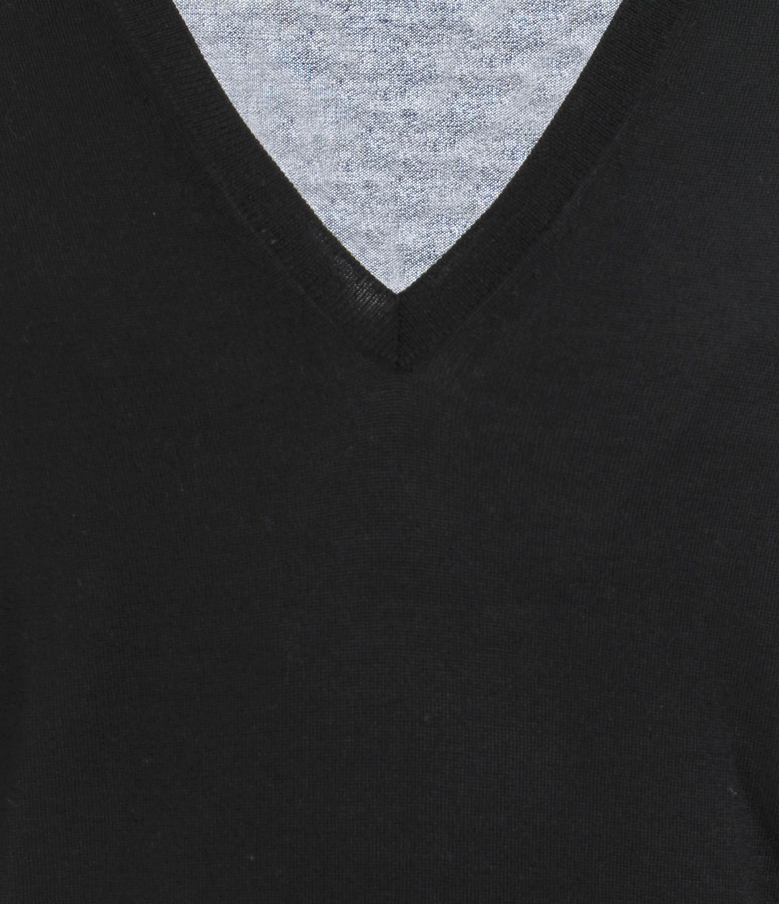 ERIC BOMPARD - Pull V Ultrafin Contemporain Noir