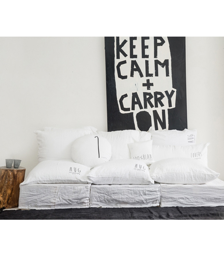 BED AND PHILOSOPHY - Grand Coussin Hug Lin Blanc Print Noir