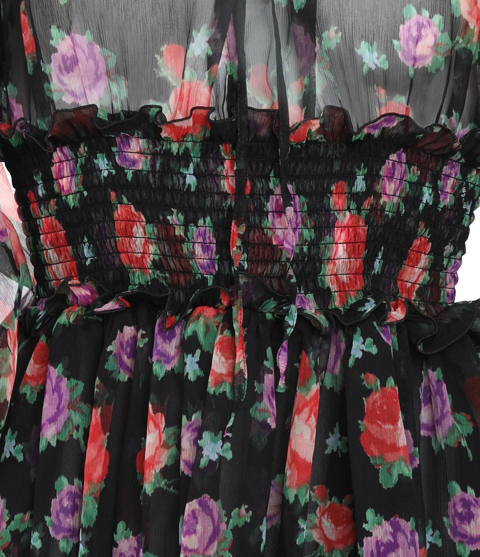 MSGM - Robe Soie Imprimé Floral Noir