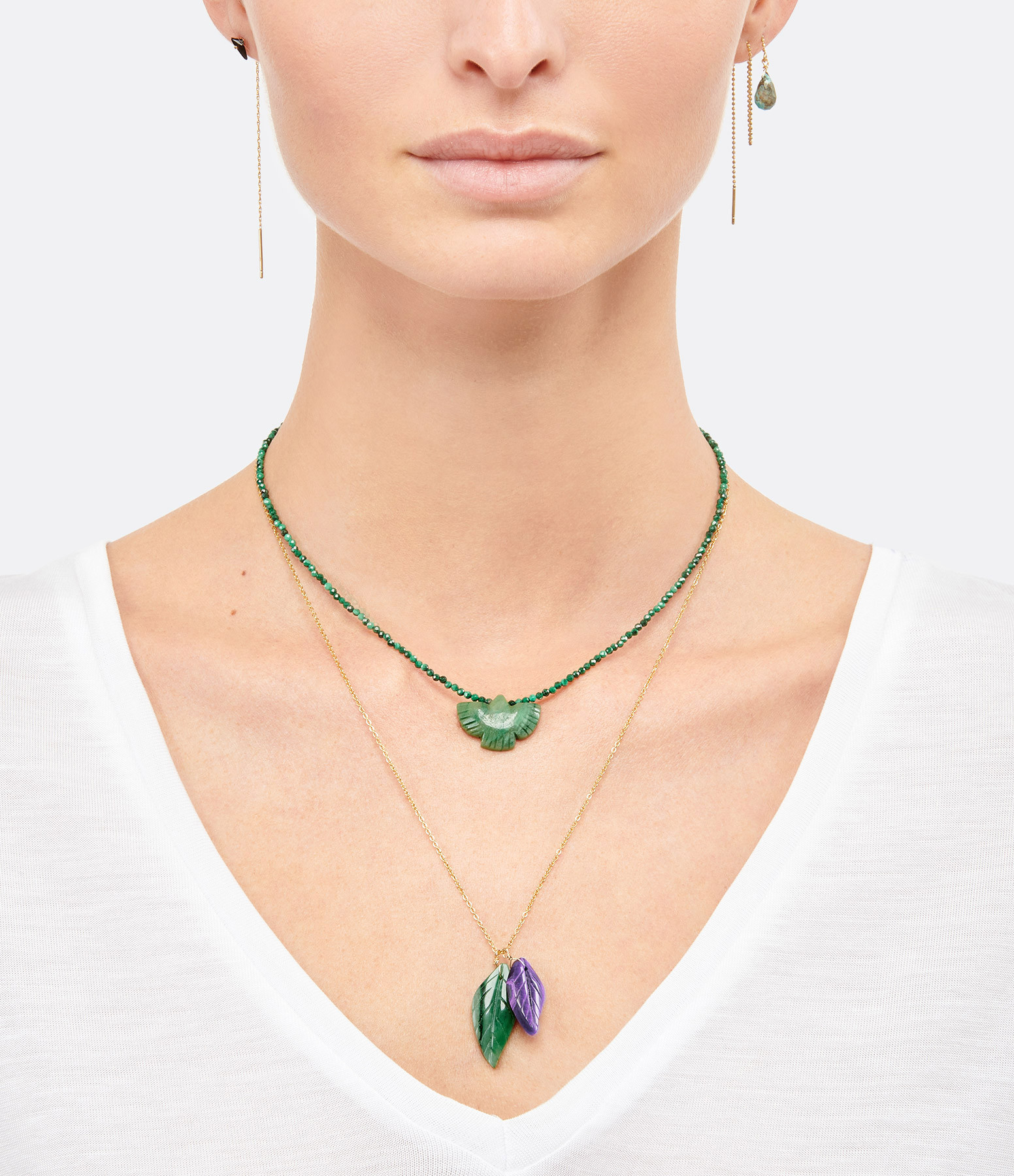 MON PRECIEUX GEM - Collier Feuille Turquoise Africaine Améthyste