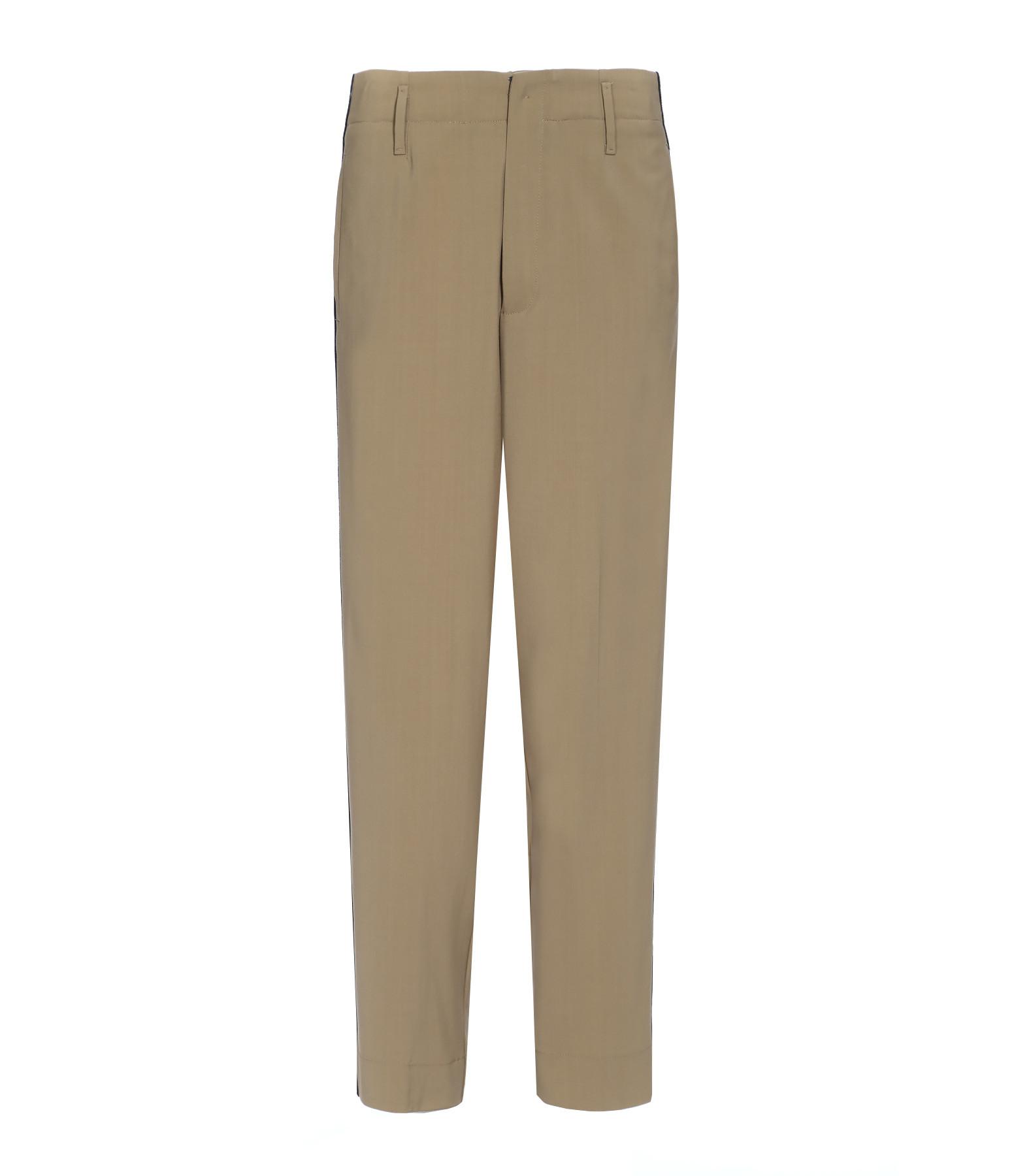 FORTE_FORTE - Pantalon Rayures Laine Beige