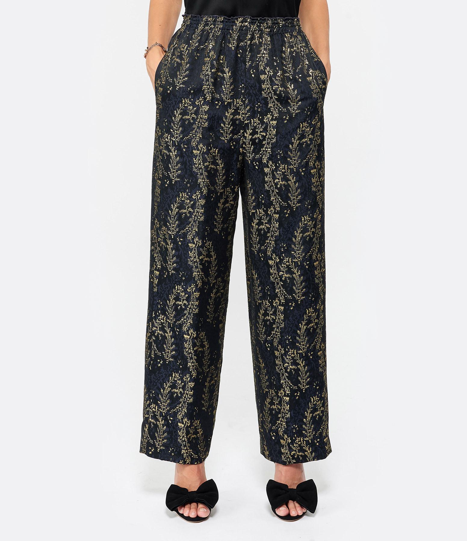 FORTE_FORTE - Pantalon Gipsy Gold Jaquard Bleu Nuit