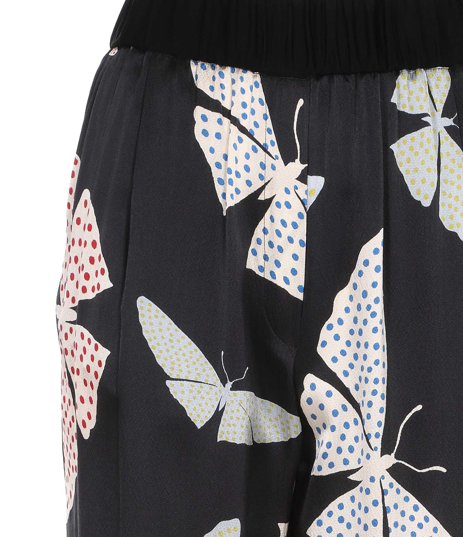 FORTE_FORTE - Pantalon Papillons Gitans Soie Bleu Nuit