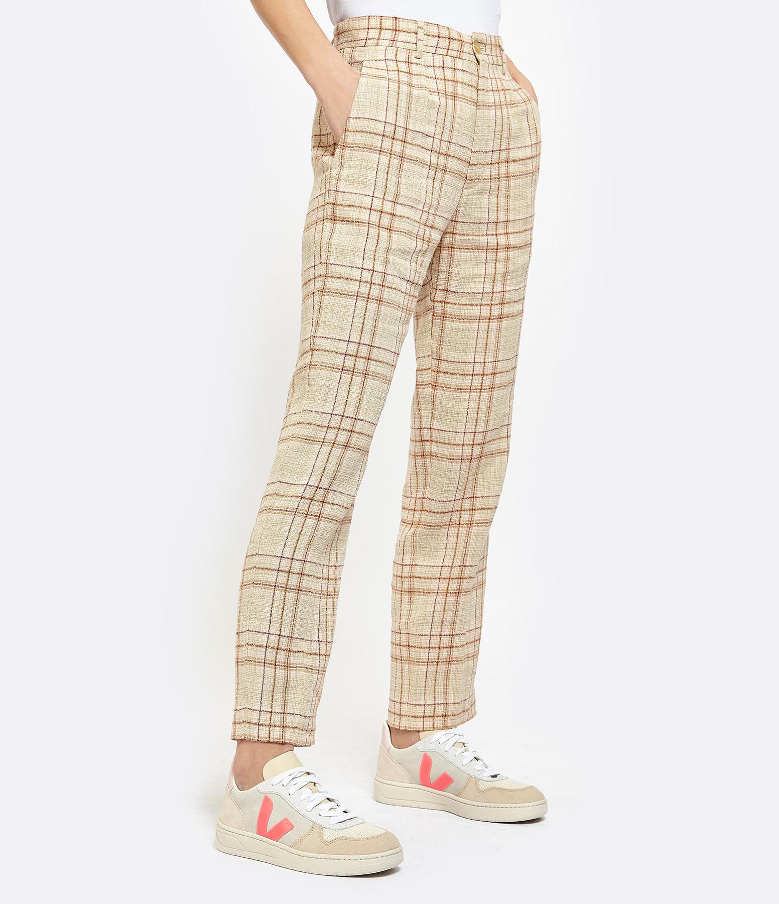 FORTE_FORTE - Pantalon Tartan Lin Coton Rose Poudre